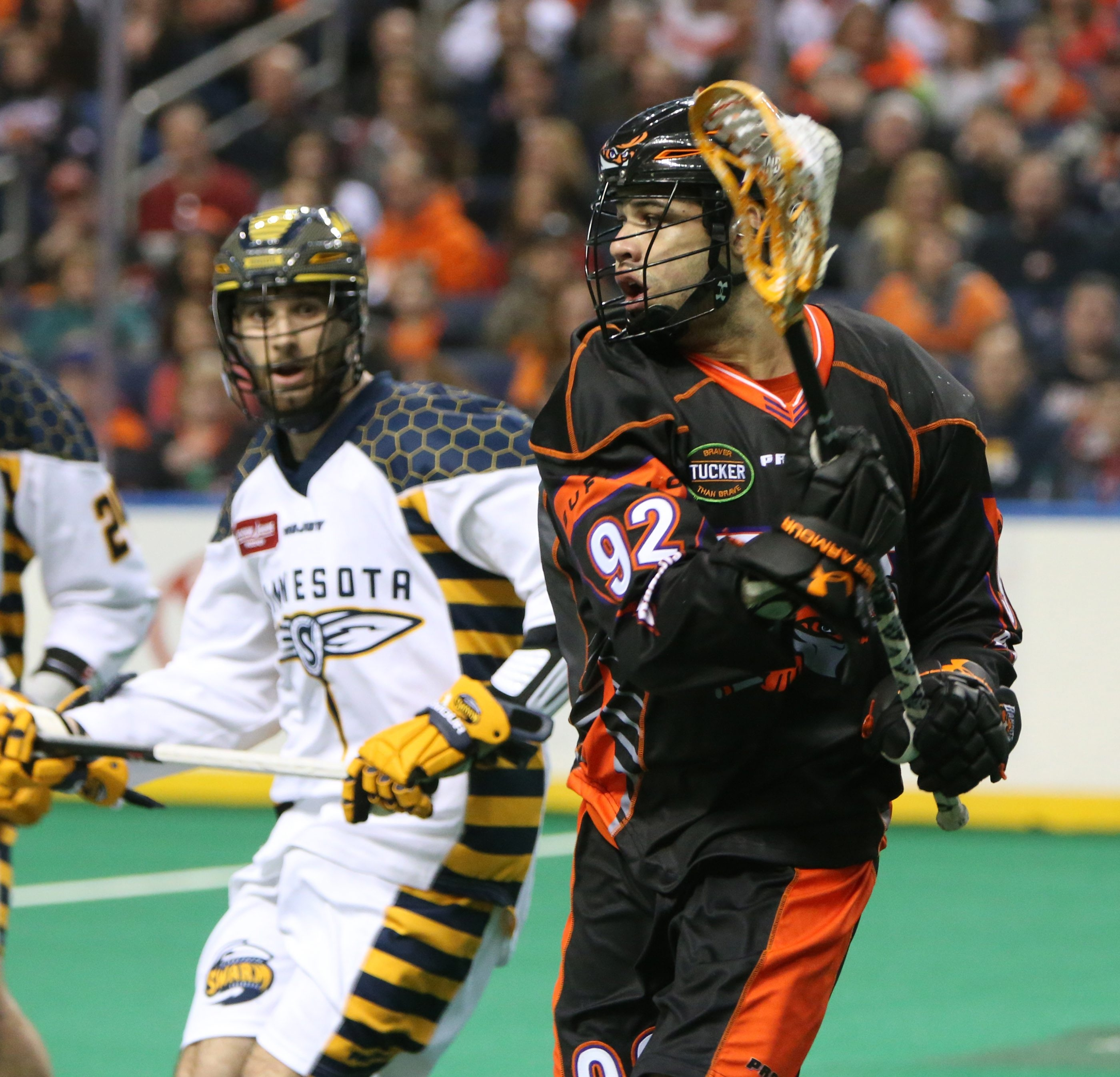 Bandits' D'Hane Smith beats Minnesota's Alex Crepinsek in the second quarter of their game at First Niagara Center on Friday, Jan. 30, 2015.  (James P. McCoy/ Buffalo News)