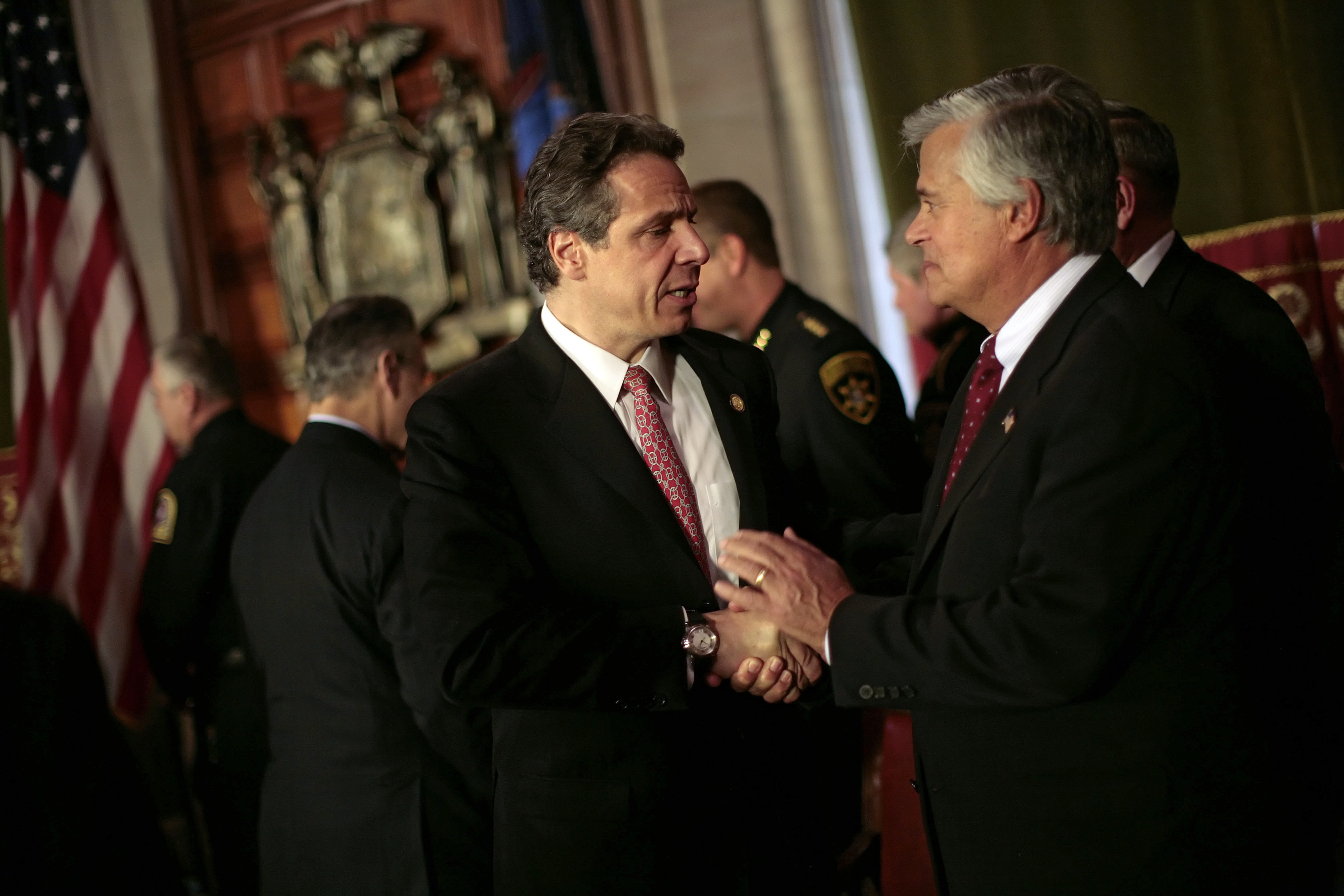 State Senate Majority Leader Dean Skelos, shown here at right with Gov. Andrew Cuomo in 2012, says no one from the U.S. Attorney's Office has contacted him.