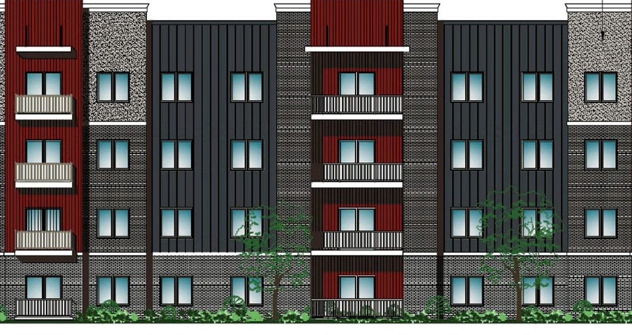 Detail of architect's rendering of student housing planned for 11-acre parcel on Forest Avenue and Danforth Road.