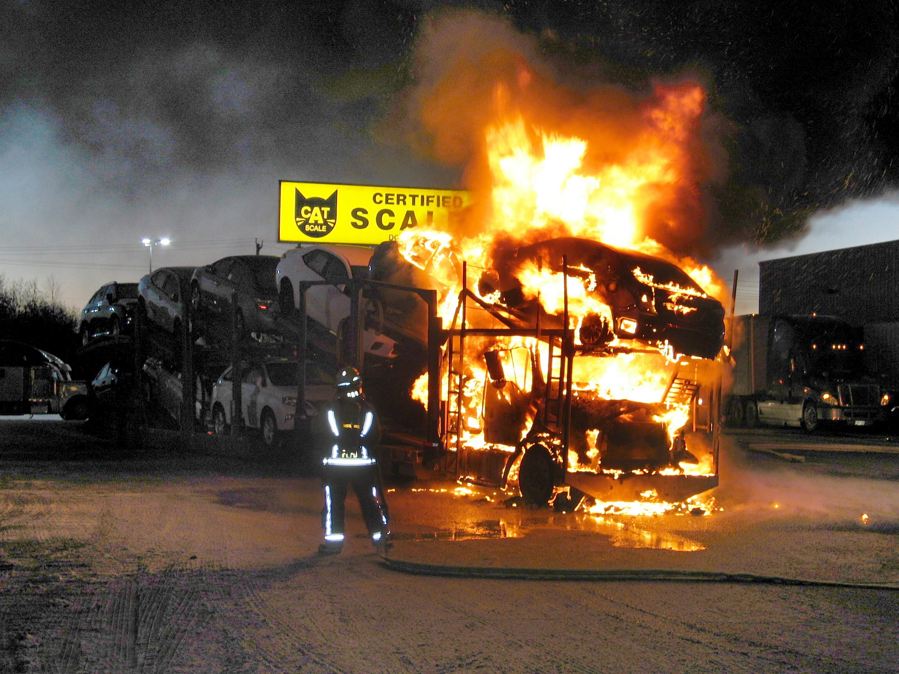 A car carrier headed to a West Seneca dealership caught fire in Fort Erie, Ont., early Wednesday morning.