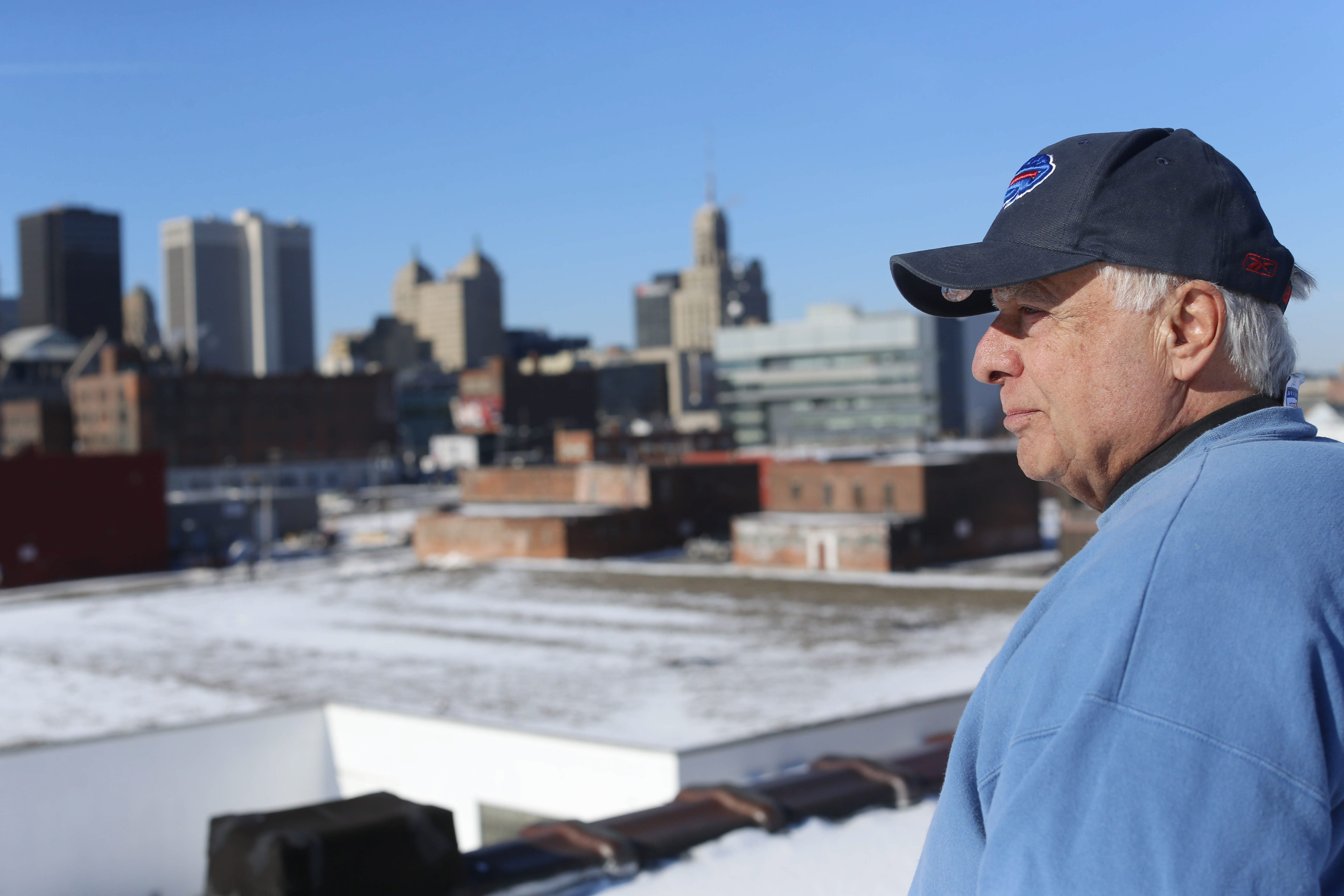 James Sandoro looks over his property that, after the recent purchase of the Ethox Medical complex, stretches from Chicago Street to Michigan Avenue. The Pierce-Arrow Museum owner is worried a new Bills stadium built on Exchange Street would affect his business.