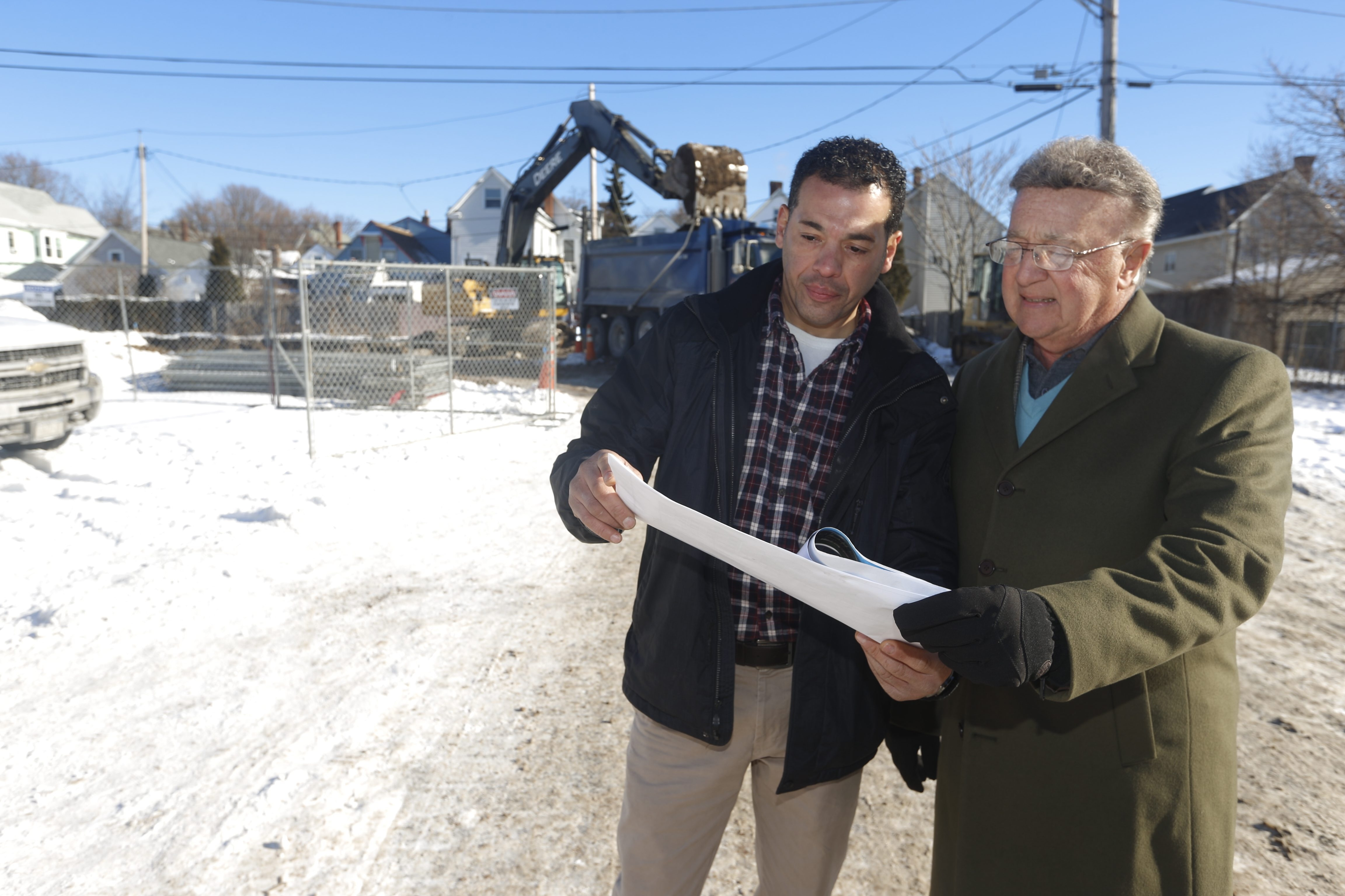 Remediation of the Maryland Street site is the first step forward for an apartment project planned by developer Anthony LoRusso, right, and his partner, Richard Gonzalez. Their proposal will go before the city Planning Board in February.