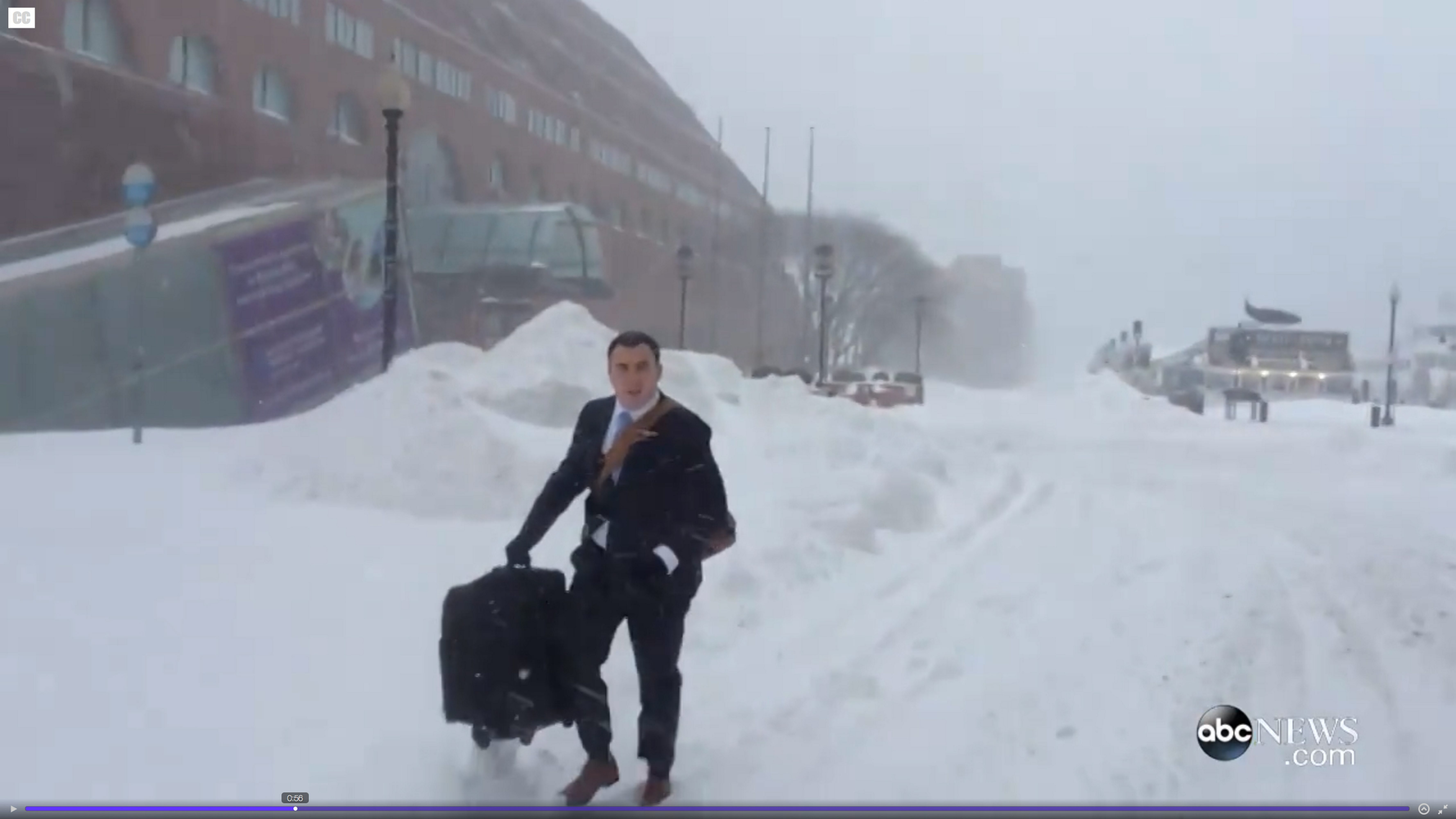 East Aurora native Shawn Mascia was filmed by an ABC News crew walking to work in the middle of Boston's blizzard.
