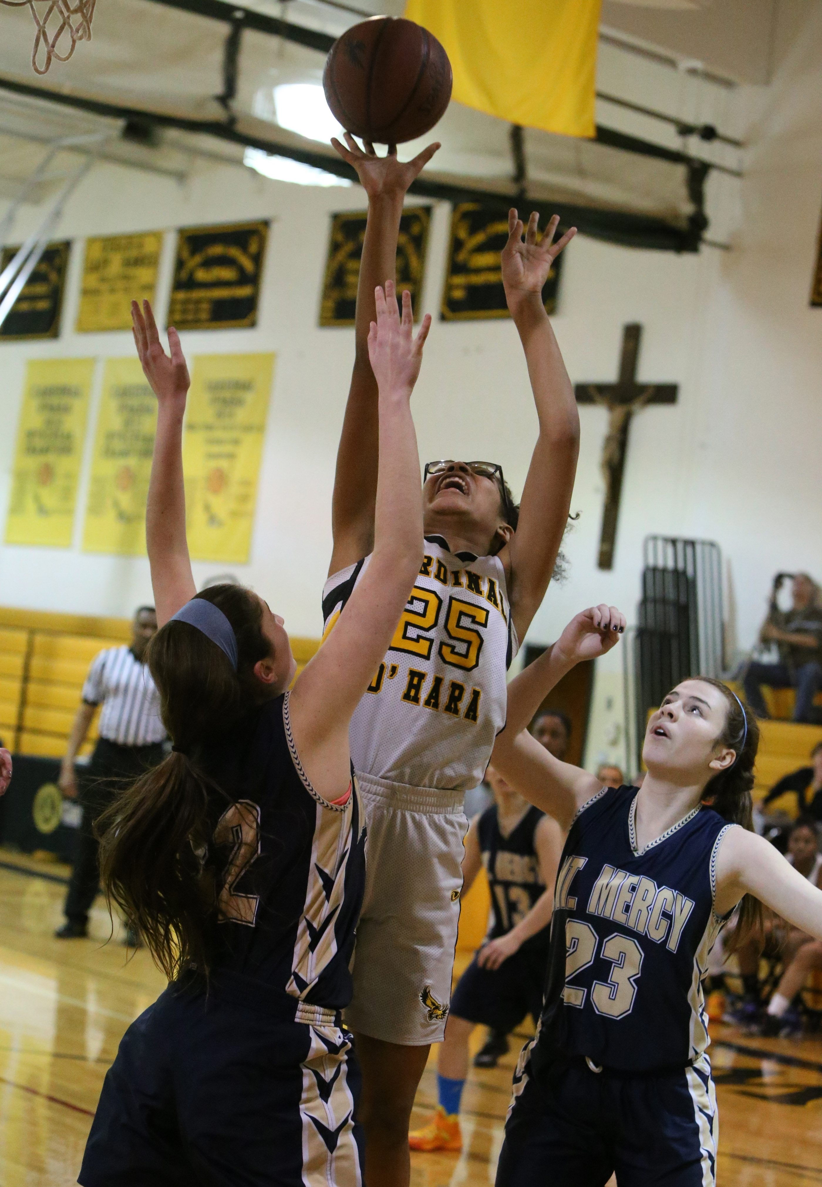 Cardinal O'Hara's Summer Hemphill scored her 1000 point tonight against Mount Mercy in the third quarter at Cardinal O'Hara high school in Kenmore,N.Y. on Monday, Jan. 26, 2015.  (James P. McCoy/ Buffalo News)