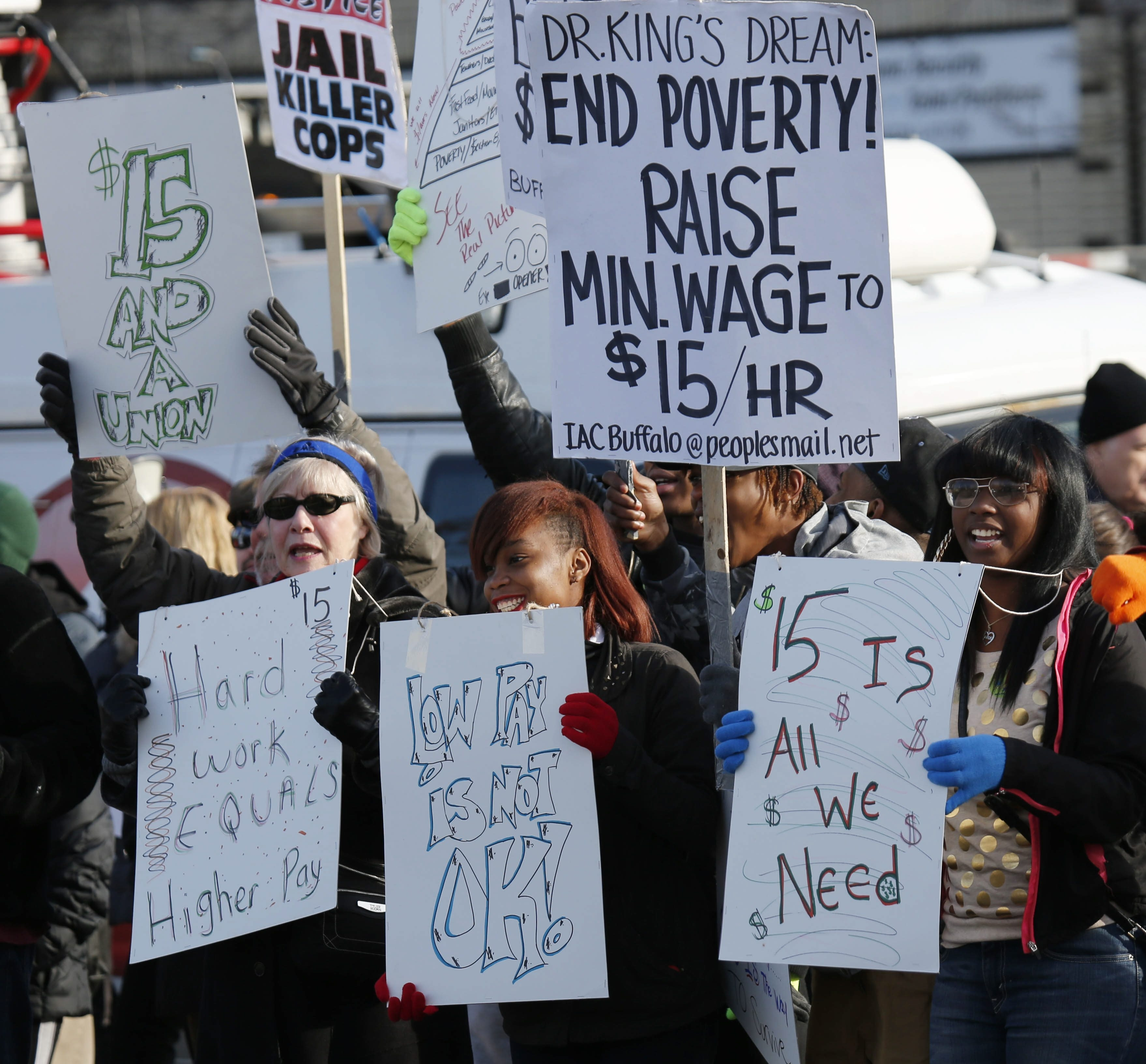 """Fast-food workers and other advocates of a higher minimum wage have been demonstrating in Buffalo and nationwide. Now locally, the Coalition for Economic Justice is promoting a certification program to spotlight employers who pay a living wage.  """"Buffalo is the fourth-poorest city in the country, and a lot of it has to do with the wages paid to employees locally."""" – John Washington, a community organizer with PUSH Buffalo"""
