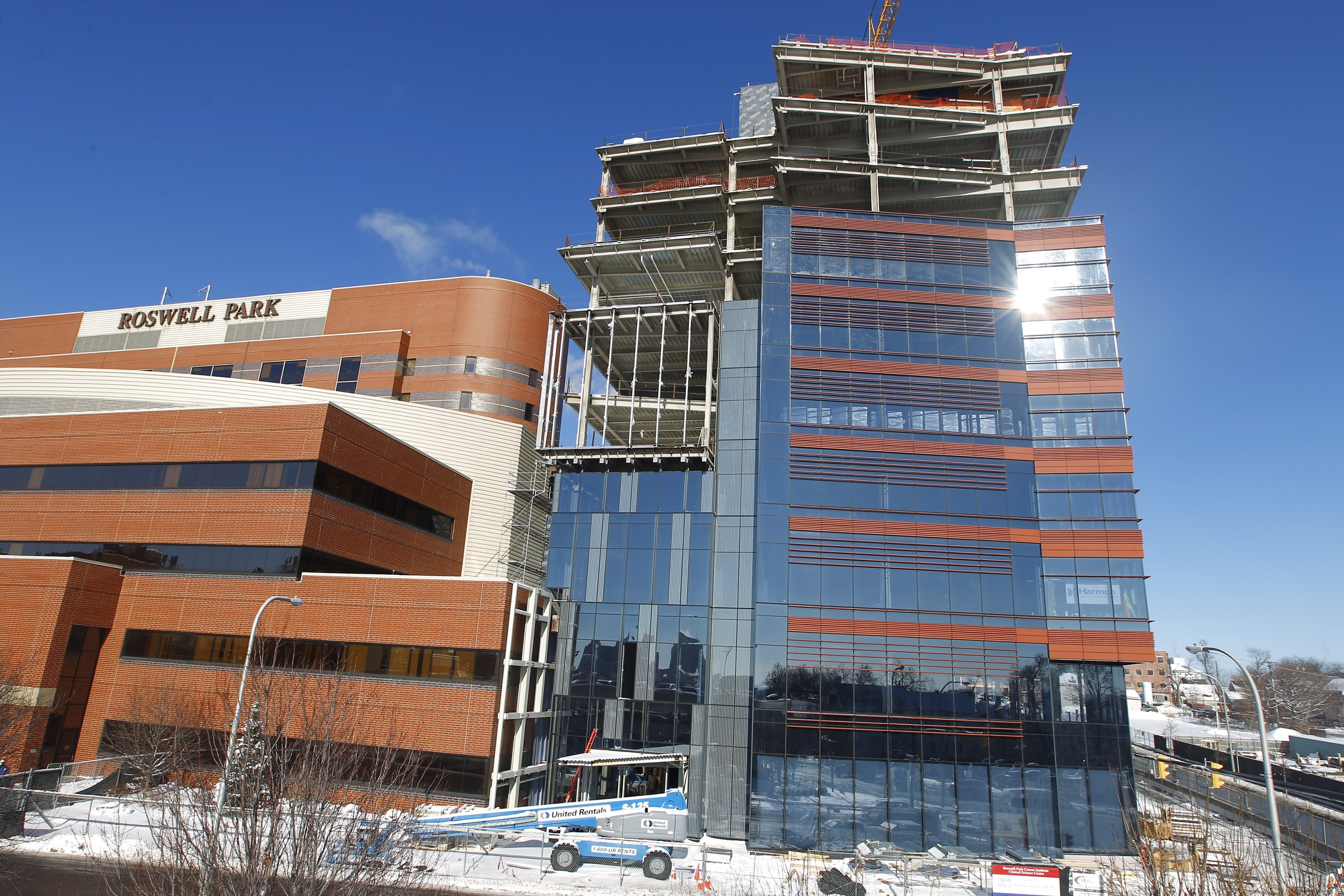 Work continues on Roswell Park's Clinical Sciences Center, which will make the cancer center even more important to the Medical Campus. (John Hickey/Buffalo News)