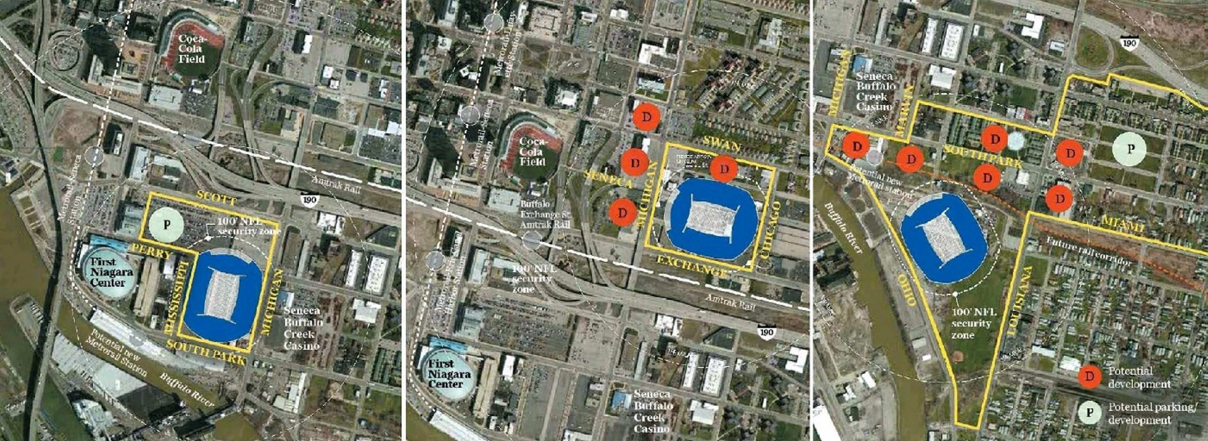 The shortlisted stadium sites in the City of Buffalo are, from left, the Cobblestone District, Exchange Street and South Park.