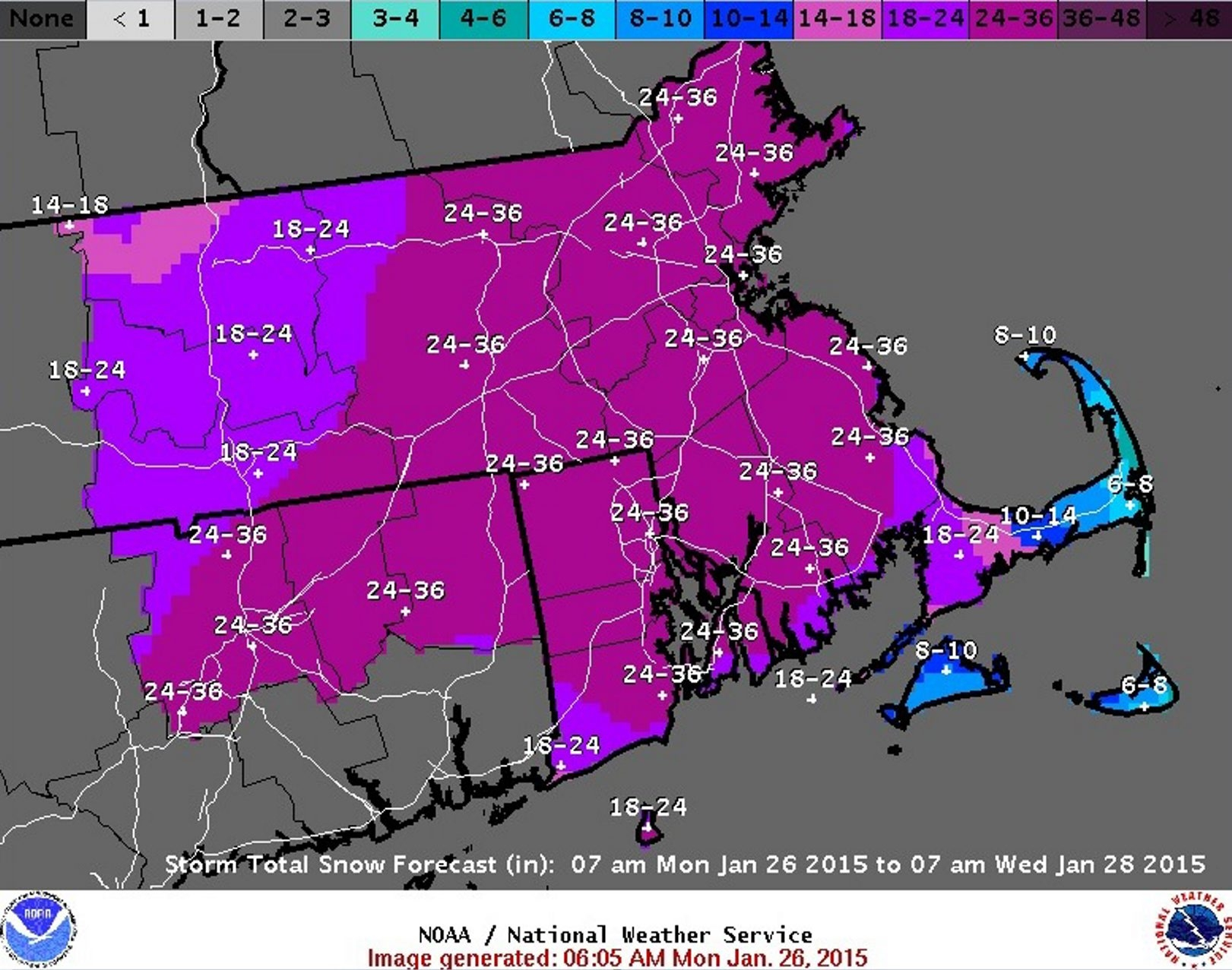 National Weather Service map from Jan. 26 shows projected snowfall totals through Wednesday for the Boston, Mass., area.