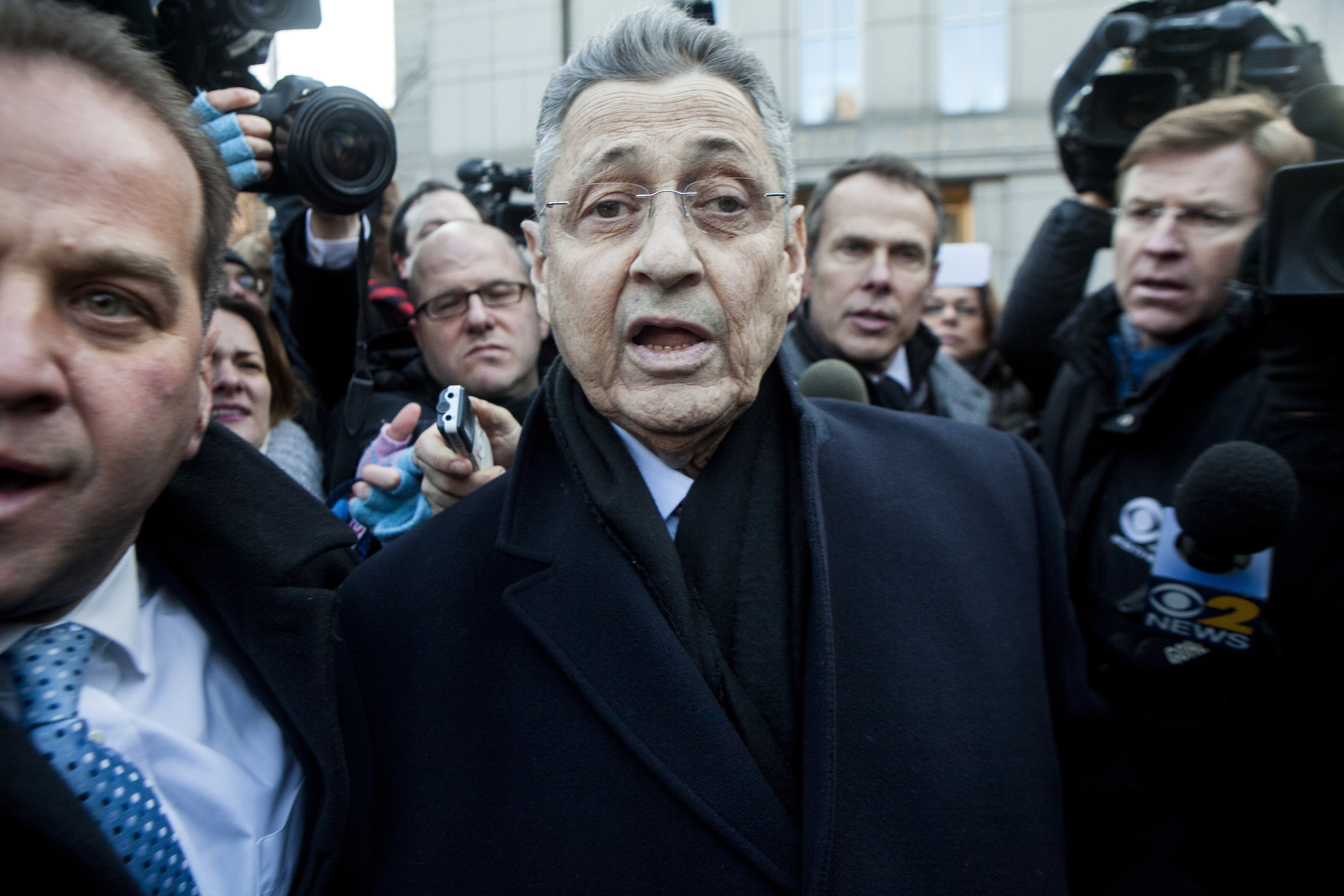 Assembly Speaker Sheldon Silver faces reporters after being arraigned on federal corruption charges Jan. 22, 2015. (New York Times)
