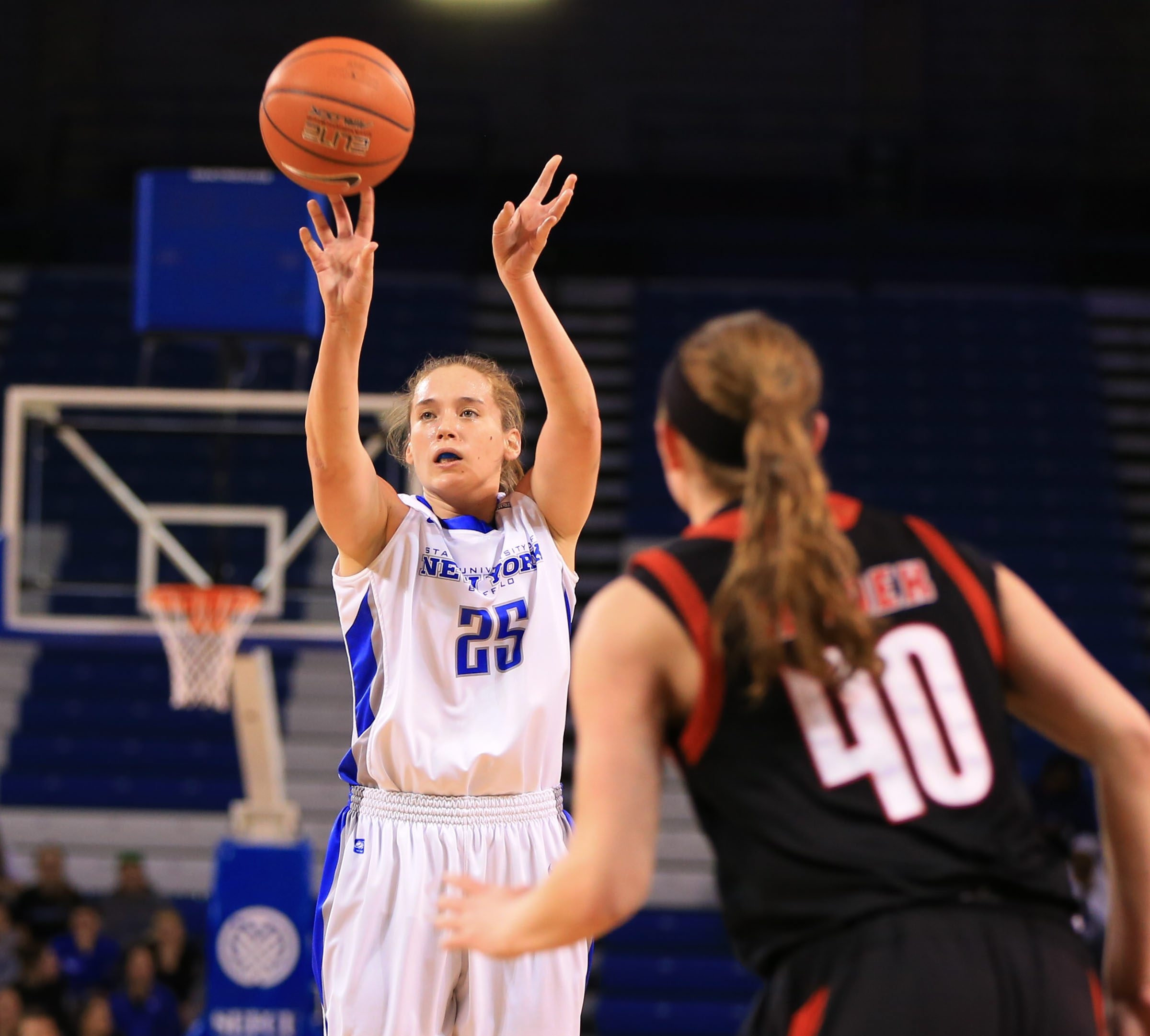 Kristen Sharkey (25) provided the offensive spark Saturday afternoon as the University at Buffalo shook off a sluggish first half to defeat Northern Illinois at Alumni Arena.