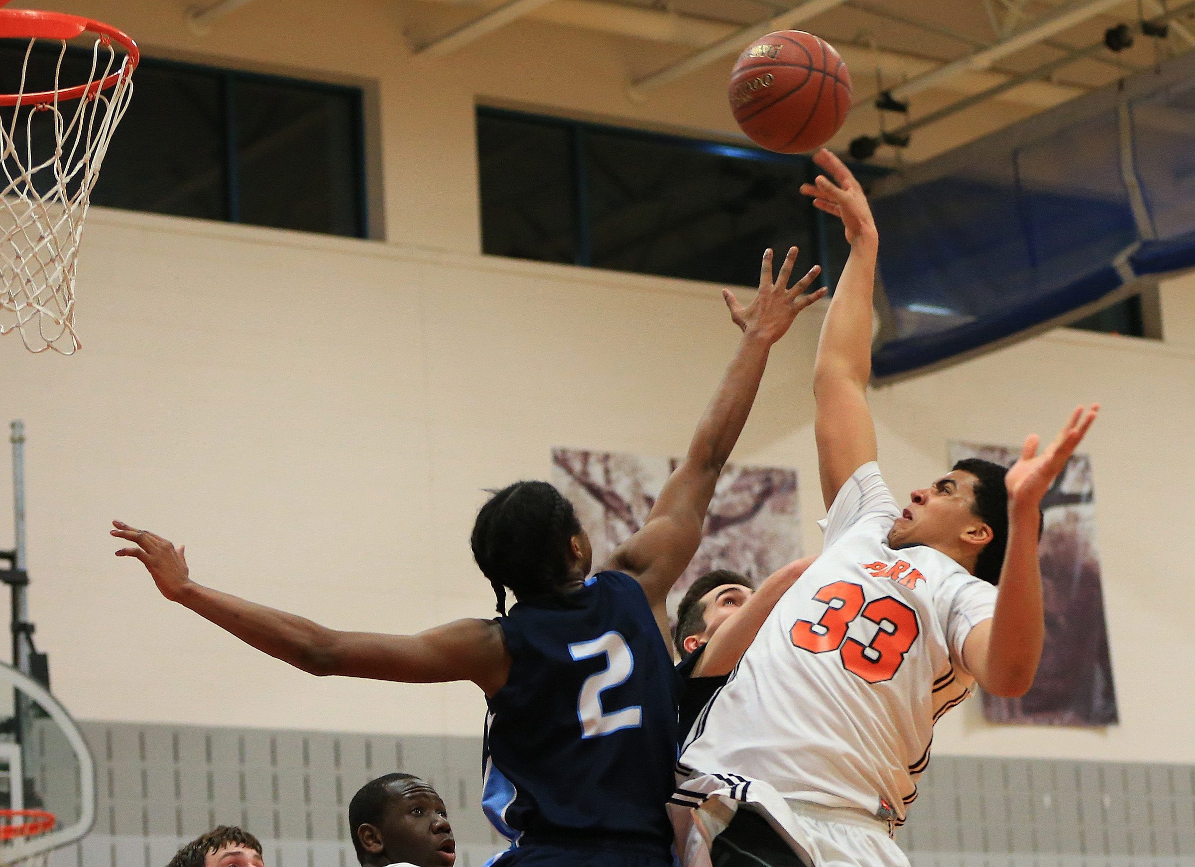 Park player Jordan Nwora (33) shoots over Cameron Dunning (2) from St. Mary's during second half action at the Park School  on Friday, Jan. 23, 2015.(Harry Scull Jr./Buffalo News)