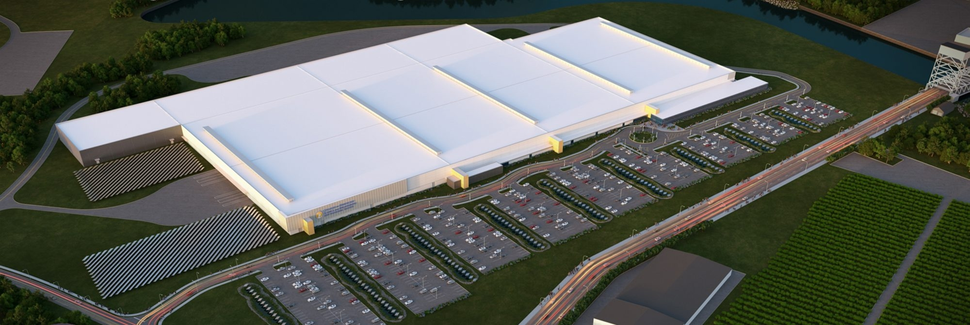 A rendering of the 1 million-square-foot factory being built on the RiverBend site on South Park Avenue.