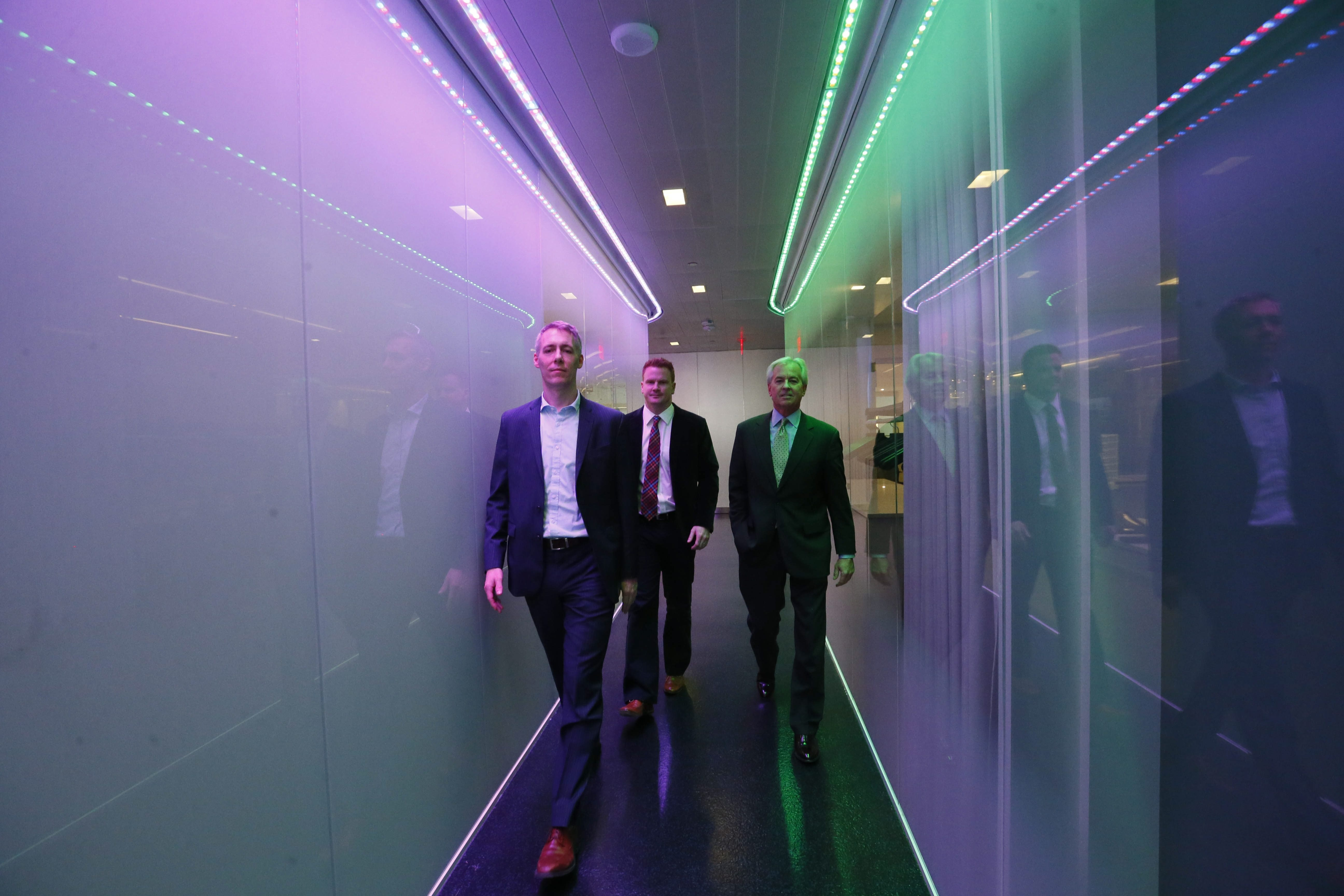 From left, Niall Wallace, chief innovation officer for Infonaut, Mike Springer, director of operations and entrepreneurship at the Jacobs Institute, and Infonaut President and CEO Thomas Quinn at the Jacobs Institute.  Infonaut uses real-time surveillance technology to prevent the spread of infections and improve patient safety in hospitals.
