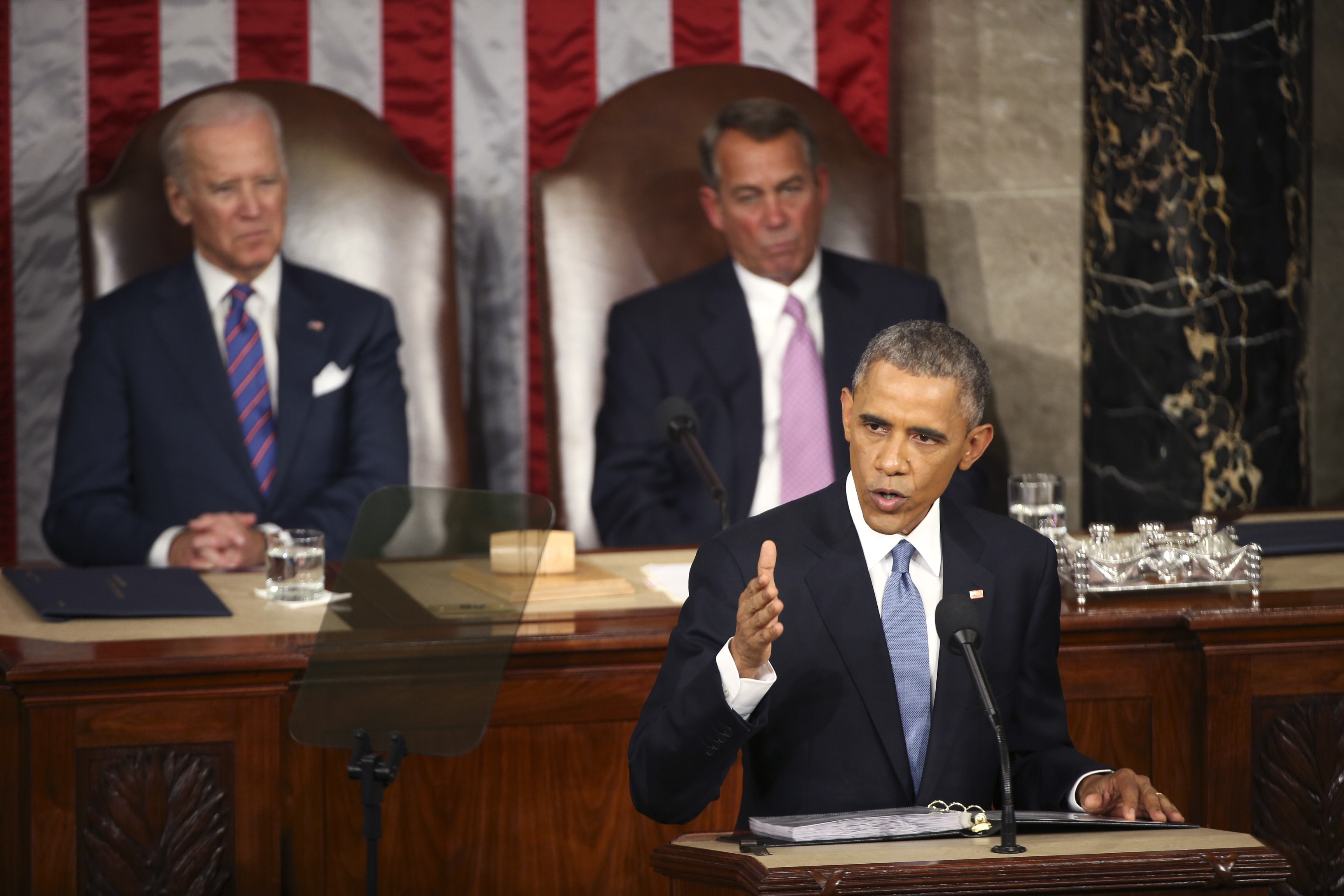 President Obama delivers his State of the Union address in the House chamber. (New York Times photo)