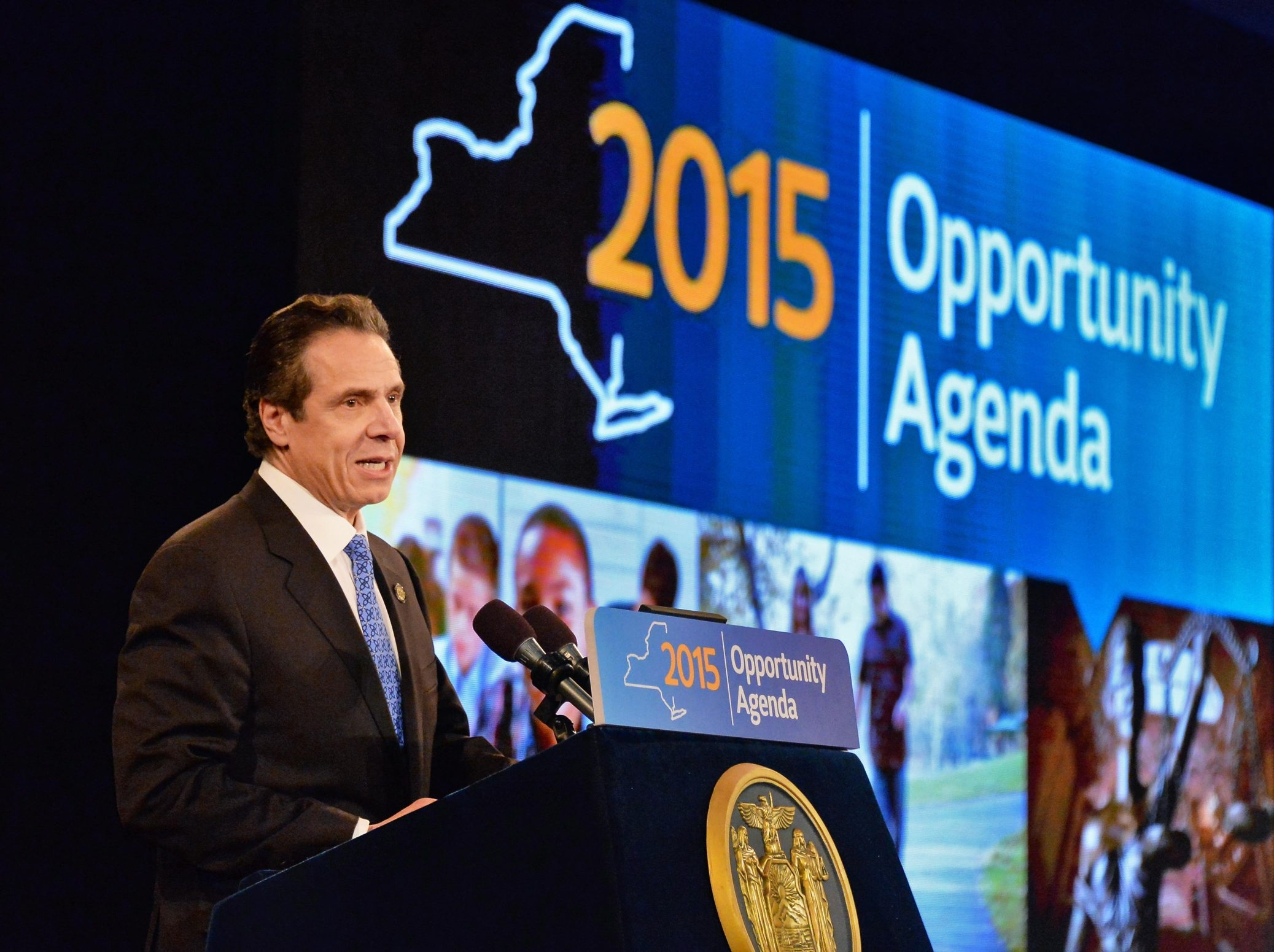 Gov. Andrew M. Cuomo delivers his State of the State address and budget proposal at Empire State Plaza convention center in Albany, saying that New York – especially upstate – is in economic-recovery mode.