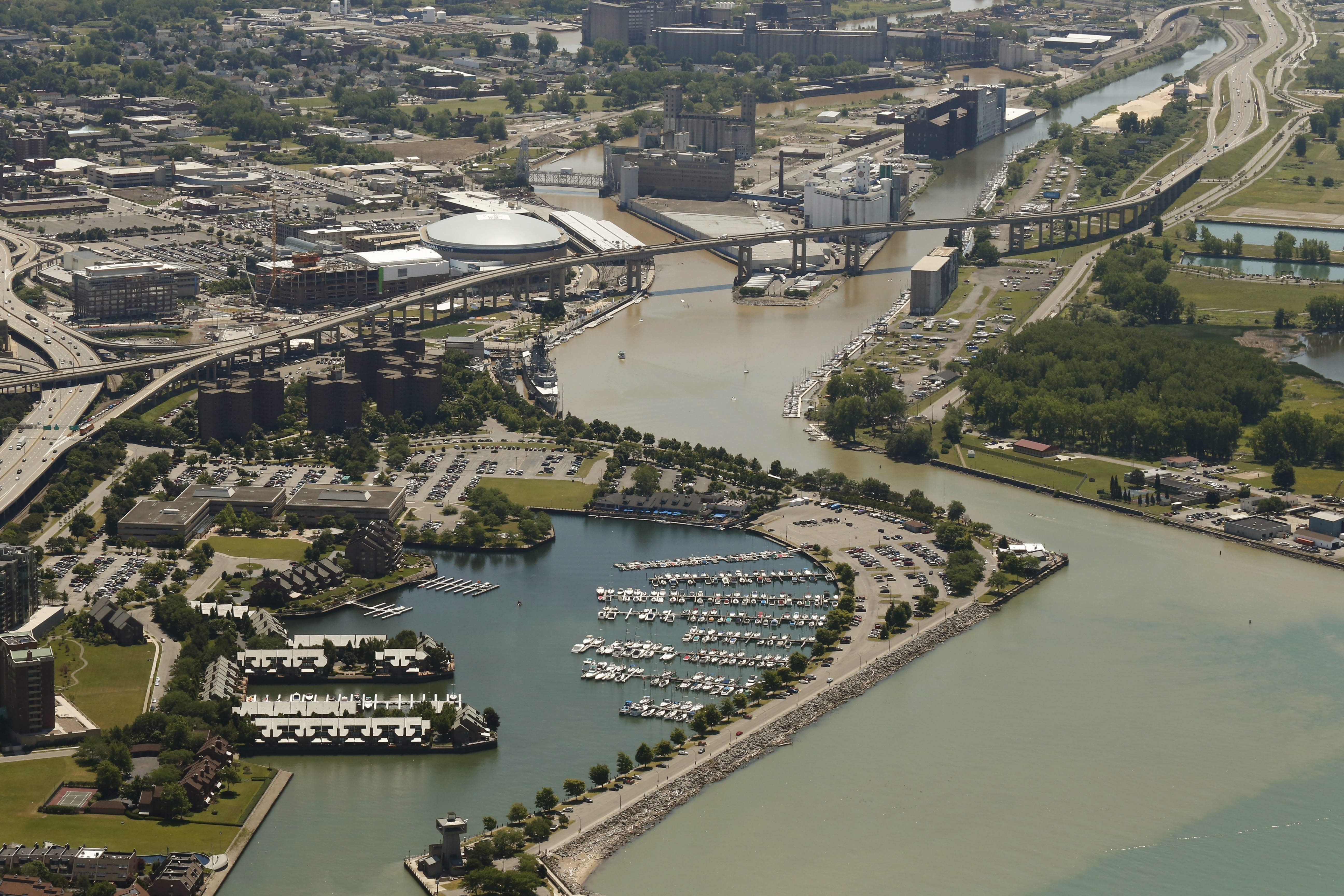 A new condo development has been proposed for the open site at the bottom left of this photo in the Waterfront Village.  (Derek Gee/Buffalo News)