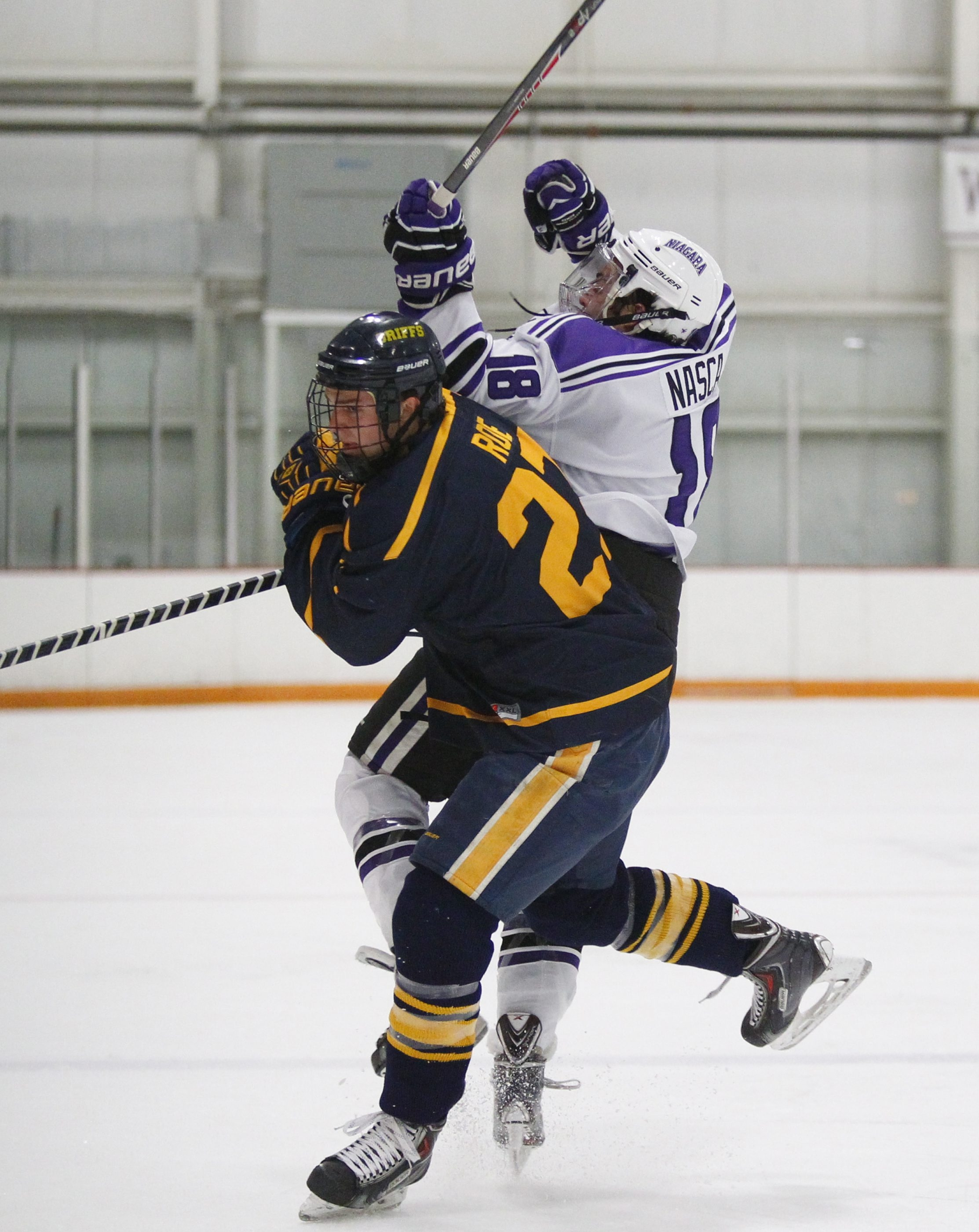 Phil Nasca and Niagara, right, will tangle with Logan Roe and Canisius tonight.