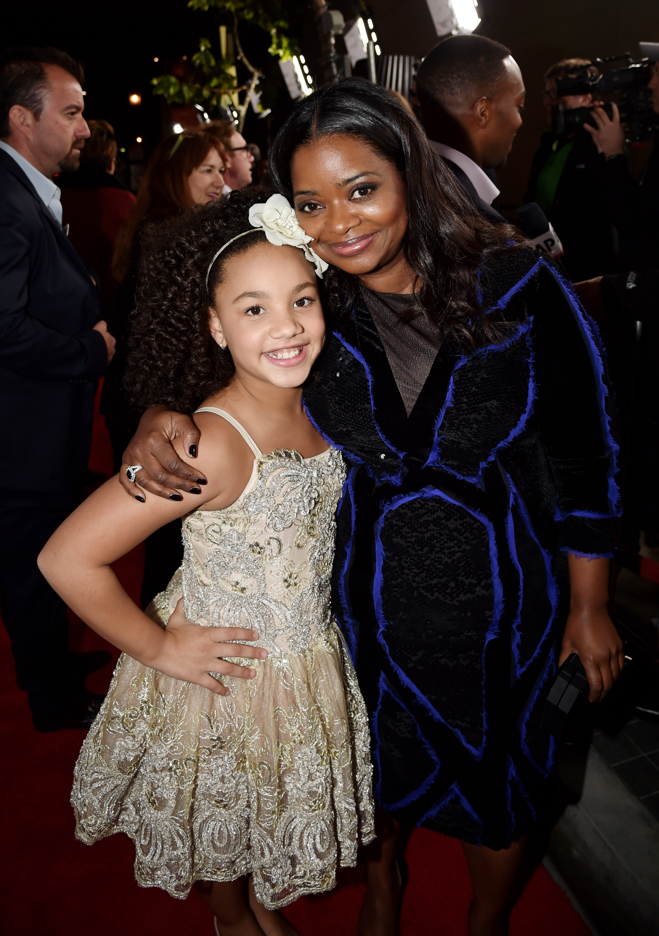"""Actresses Jillian Estell, left, and Octavia Spencer arrive at the premiere of Relativity Media's """"Black Or White"""" on Wednesday at the Regal Cinemas L.A. Live."""