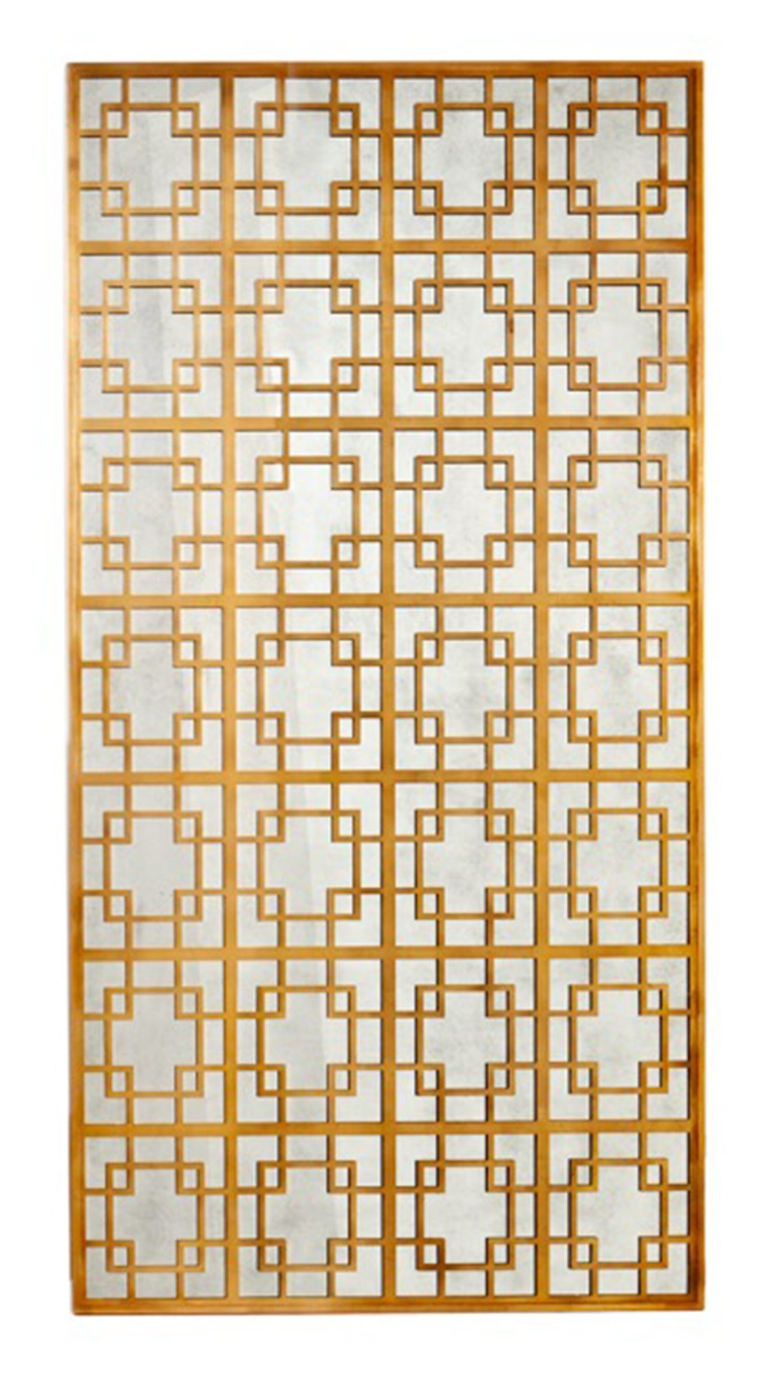 Trellis mirror from Alden Parkes features a gold geometric design over a soft vintage mirror.