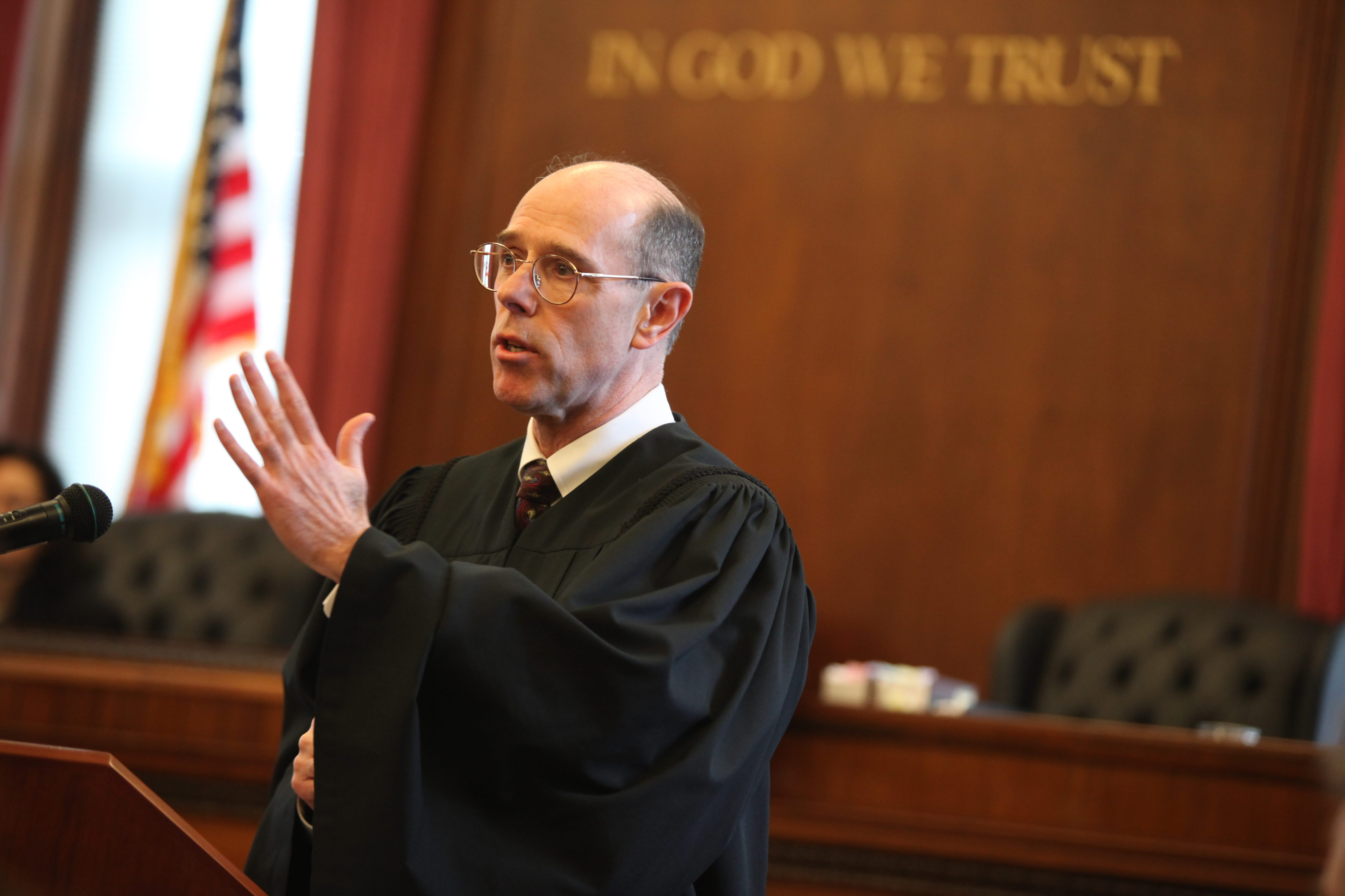 Eugene M. Fahey speaks after being sworn in for another term as a New York State Supreme Court justice in the Erie County Courthouse in Buffalo on Dec. 27, 2010. (Charles Lewis/Buffalo News file photo)