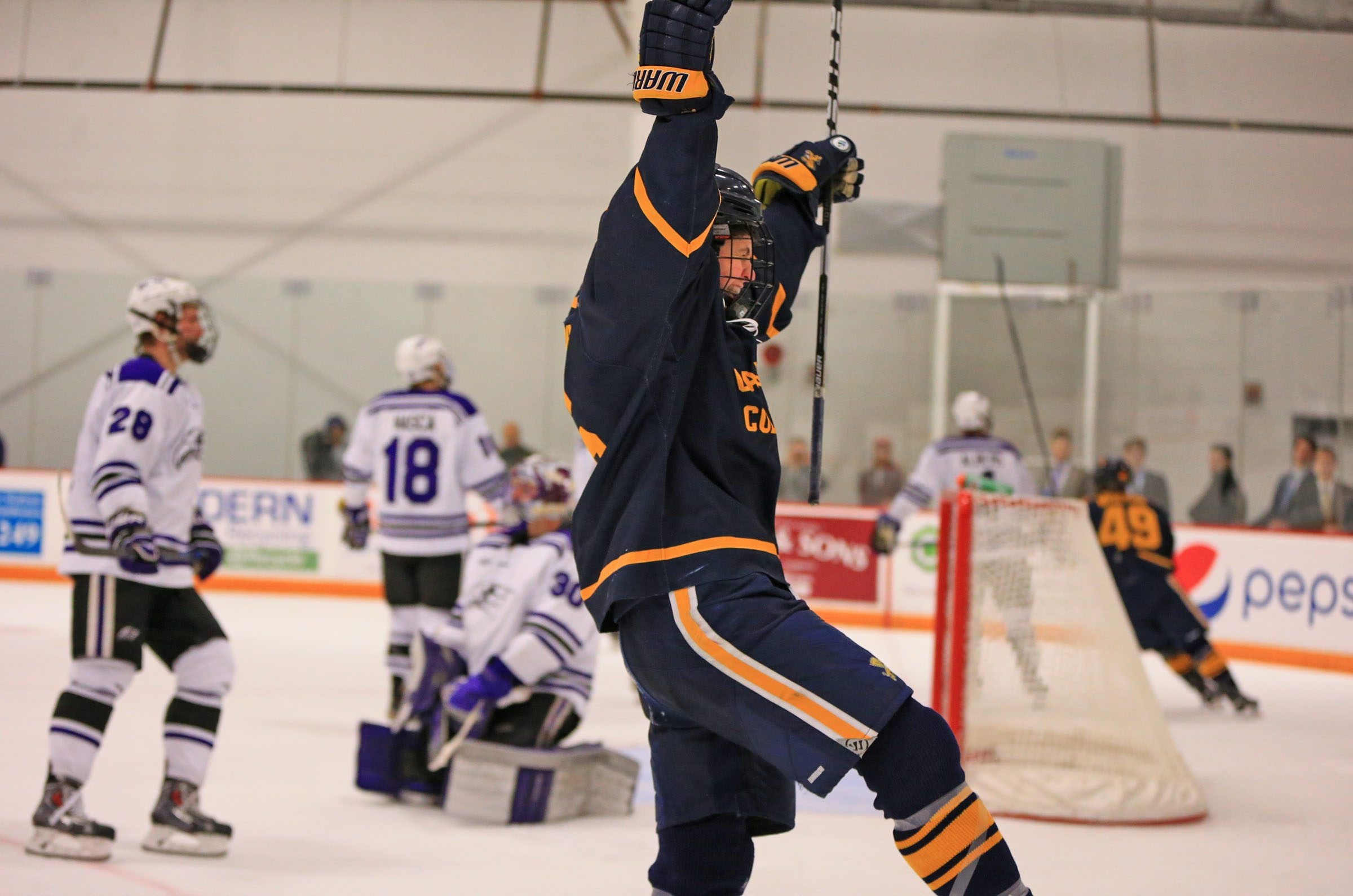 Canisius' Jeff Murray (16) celebrates the third goal of the game after scoring on  Niagara during the third period on Thursday.
