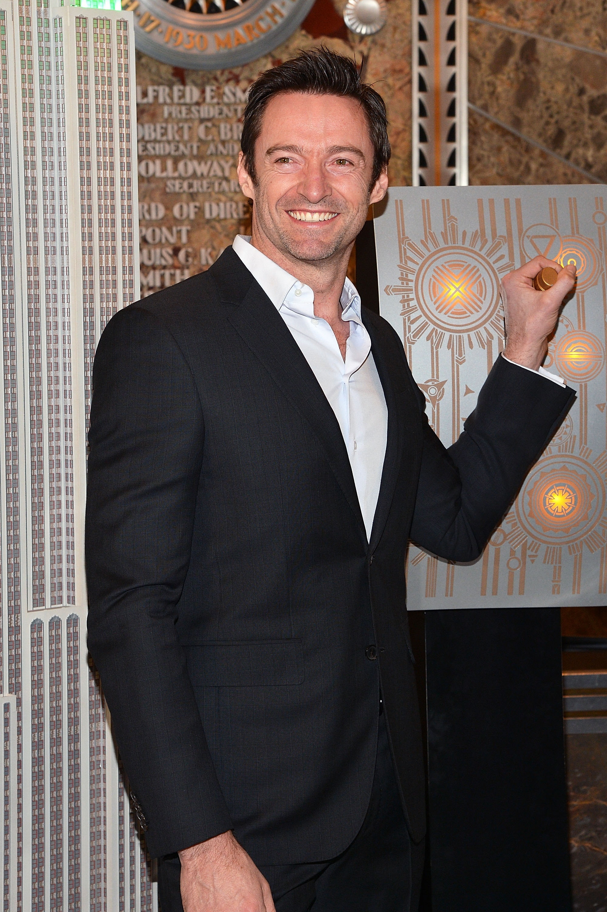 Actor Hugh Jackman lights The Empire State Building for Australia Day on Friday.  (Photo by Slaven Vlasic/Getty Images)