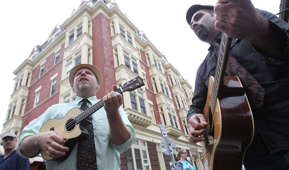 Street musicians, such as The Observers shown here in 2013, are a central part of the Allen West Festival. (Sharon Cantillon/Buffalo News file photo)
