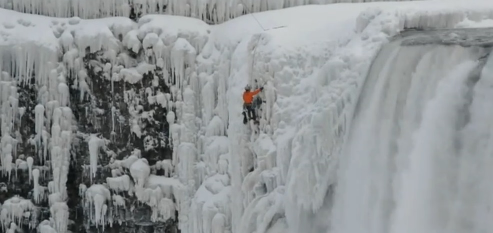 A screenshot from the video of ice climber shot by niagarafallsupclose.com.