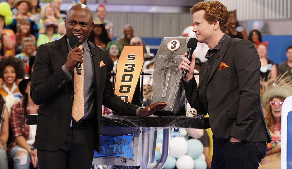 "Host Wayne Brady (left) and announcer Jonathan Mangum on ""Let's Make a Deal."" The pair will perform Saturday night in Niagara Falls. (CBS Broadcasting, Inc. All Rights Reserved)"
