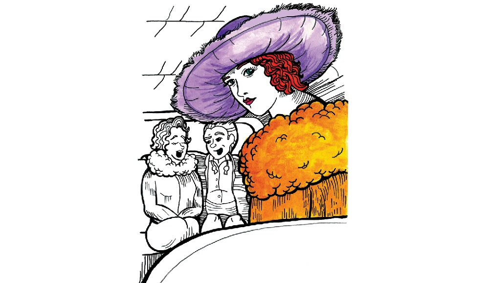 """Mickey Harmon's illustration of Buffalo-born performer Peggy O'Neil is part of his collaboration with Margaret Finan, """"A Pie-Eyed Night with Peggy O'Neil."""""""