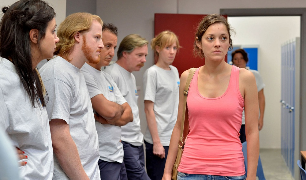 "Marion Cotillard, far right, plays a woman fighting for her job in ""Two Days, One Night."" (Sundance Selects)"