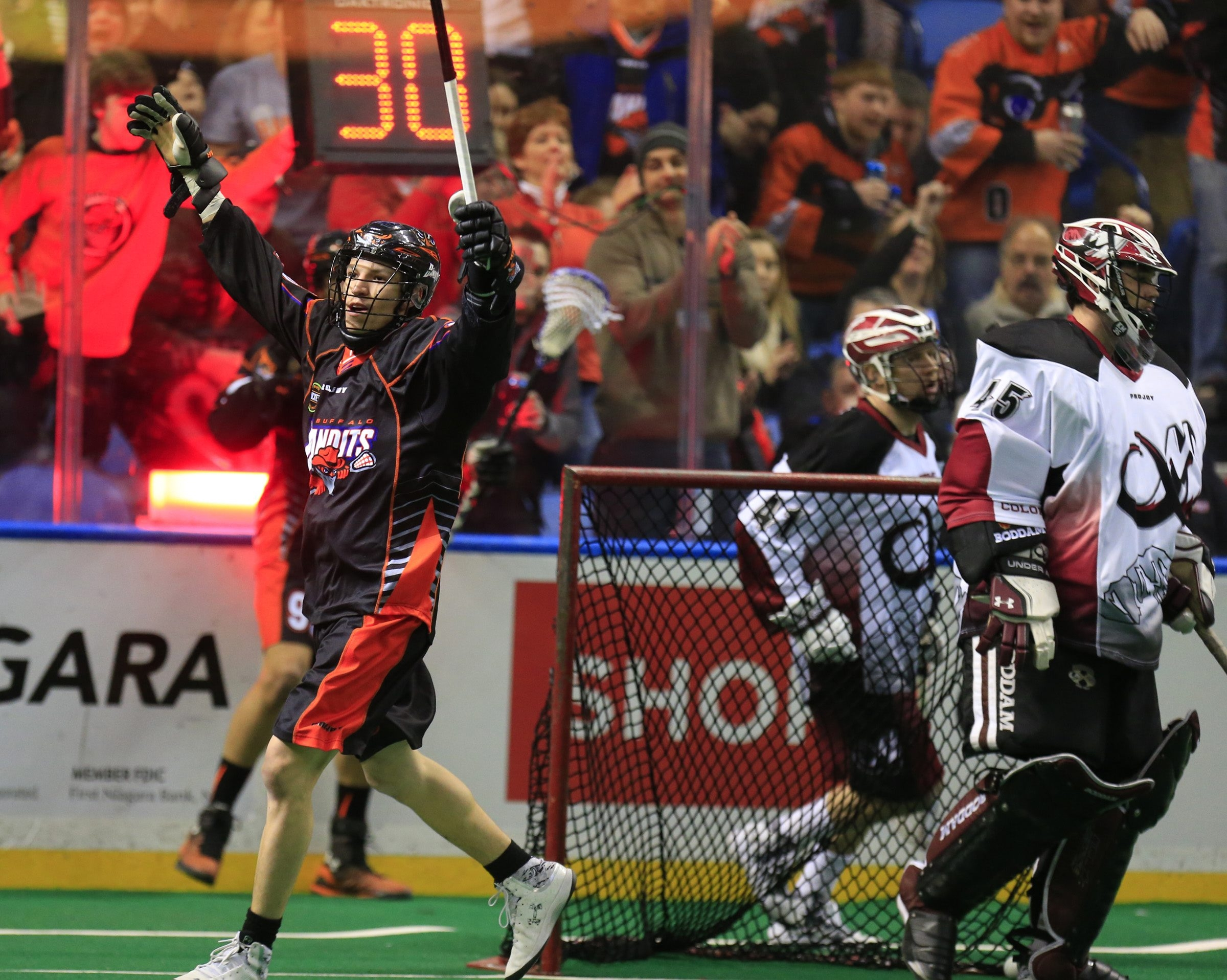 Buffalo Bandit Alex Kedoh Hil celebrates after scoring against the Colorado Mammoth during first half action at the First Niagara Center in Buffalo,NY on Saturday, Feb. 28, 2015.(Harry Scull Jr./Buffalo News)