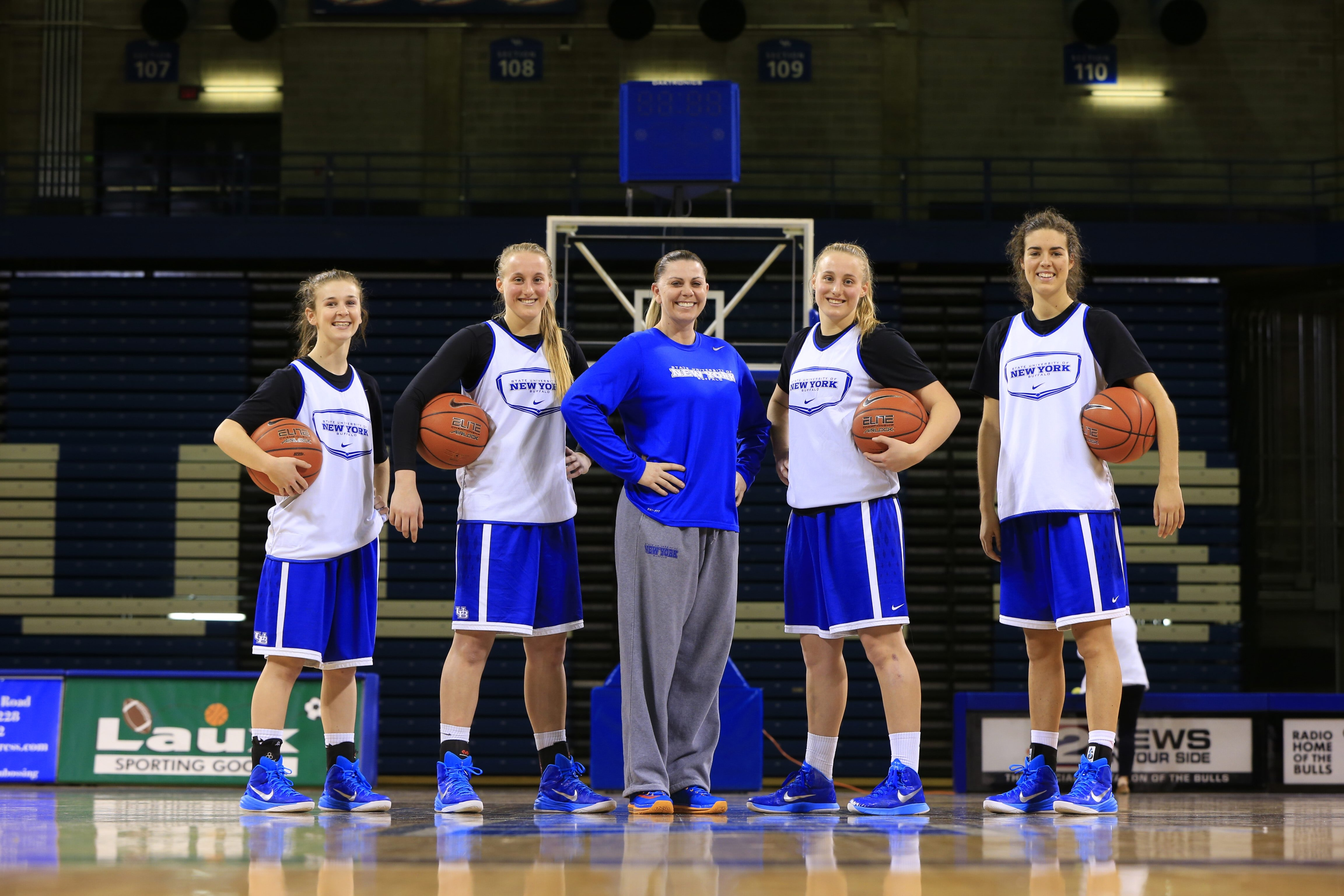 The University at Buffalo's Australian contingent is, from left, guard Stephanie Reid, guard Liisa Ups, assistant coach Cherie Cordoba, guard Katherine Ups and forward Courtney Wilkins.