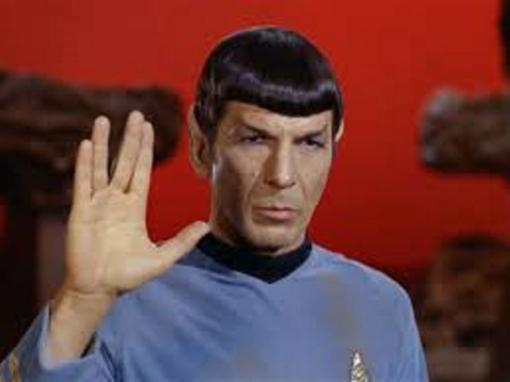 "Leonard Nimoy as Spock in 'Star Trek."""