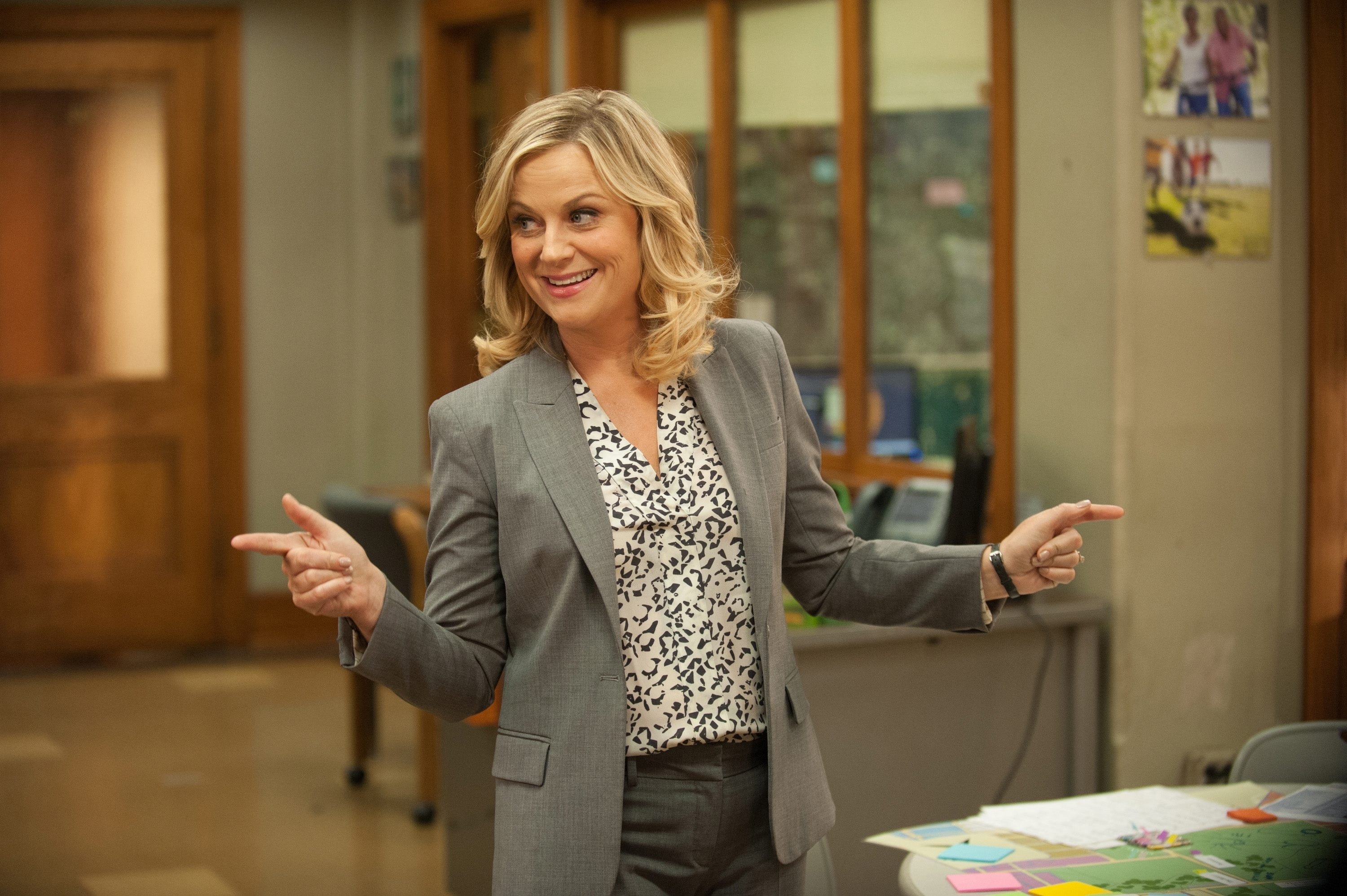 "Amy Poehler as Leslie Knope in a scene from ""Parks and Recreation,"" which wrapped up its seven-season run Tuesday night."