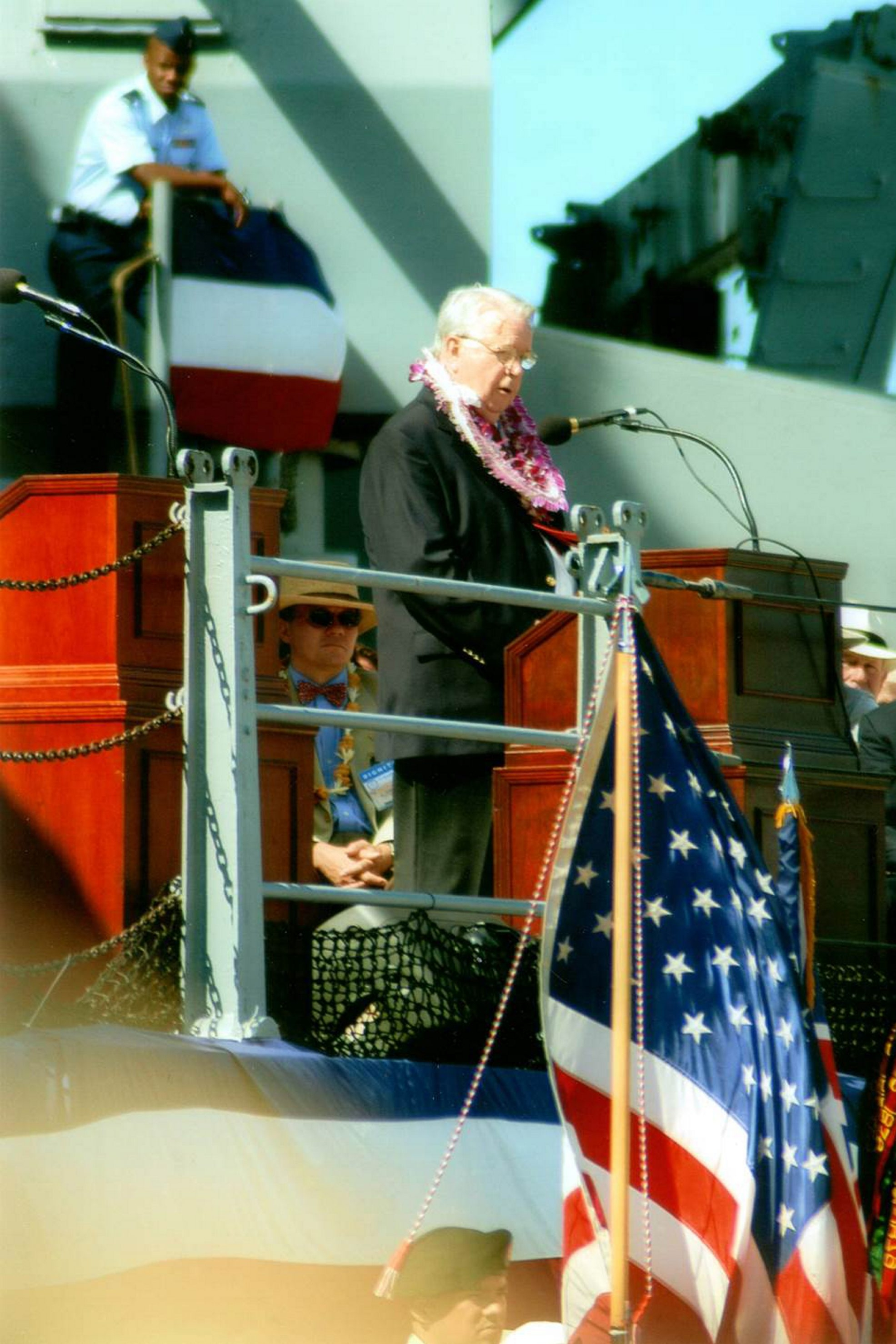 """Retired Navy Lt. Cmdr. James L. Starnes, author of """"Surrender: September 2, 1945,"""" speaks on the USS Missouri at Pearl Harbor in 2005 during 60th-anniversary ceremony commemorating the surrender by Japan to end World War II. Starnes, now 92, was officer of the day on the famed battleship at the event in Tokyo Bay."""