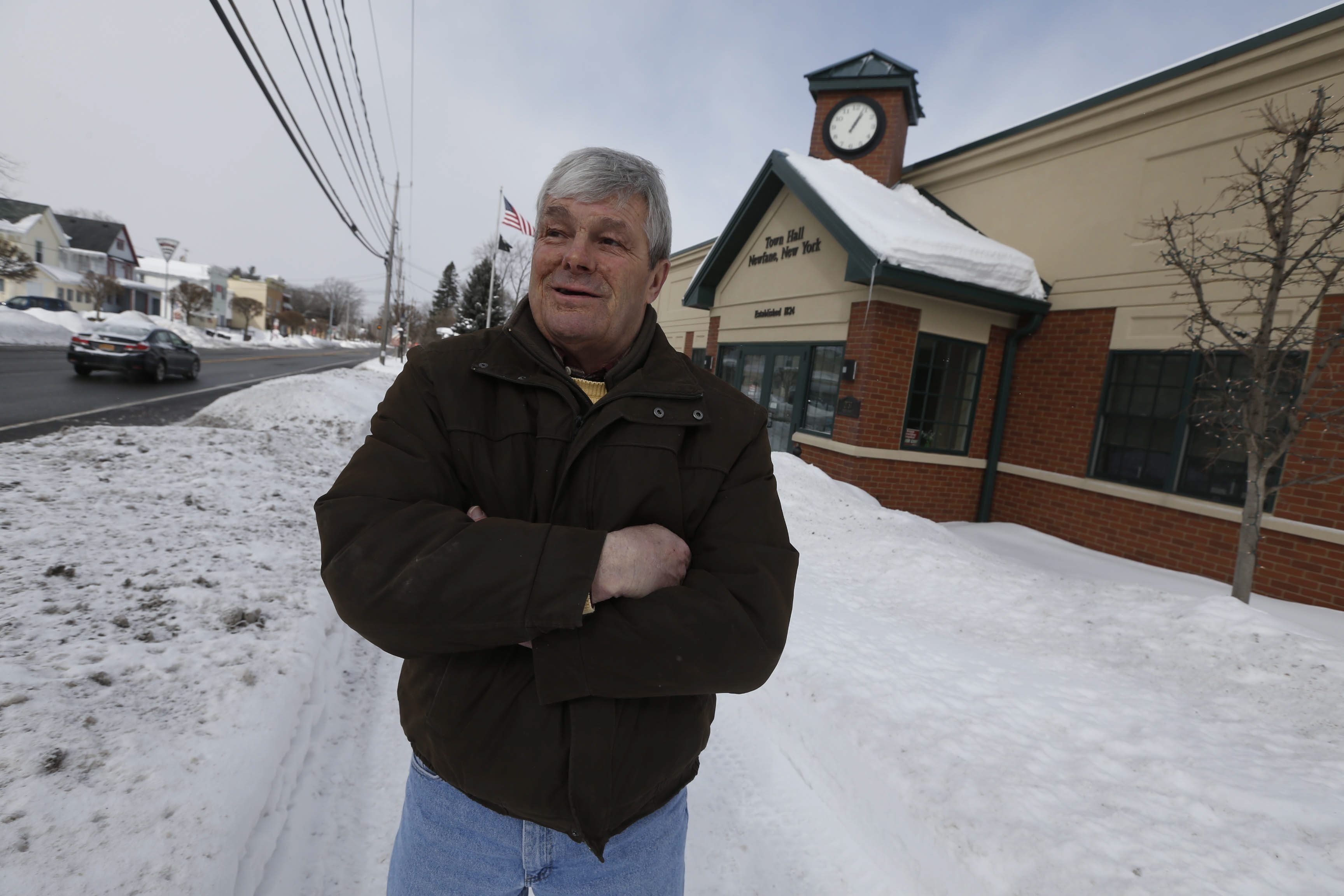 Newfane Town Supervisor Tim Horanburg discusses planned improvements for Main Street on Monday. The $421,000 facelift will be funded in part by a grant from the federal Transportation Enhancement Program Project.