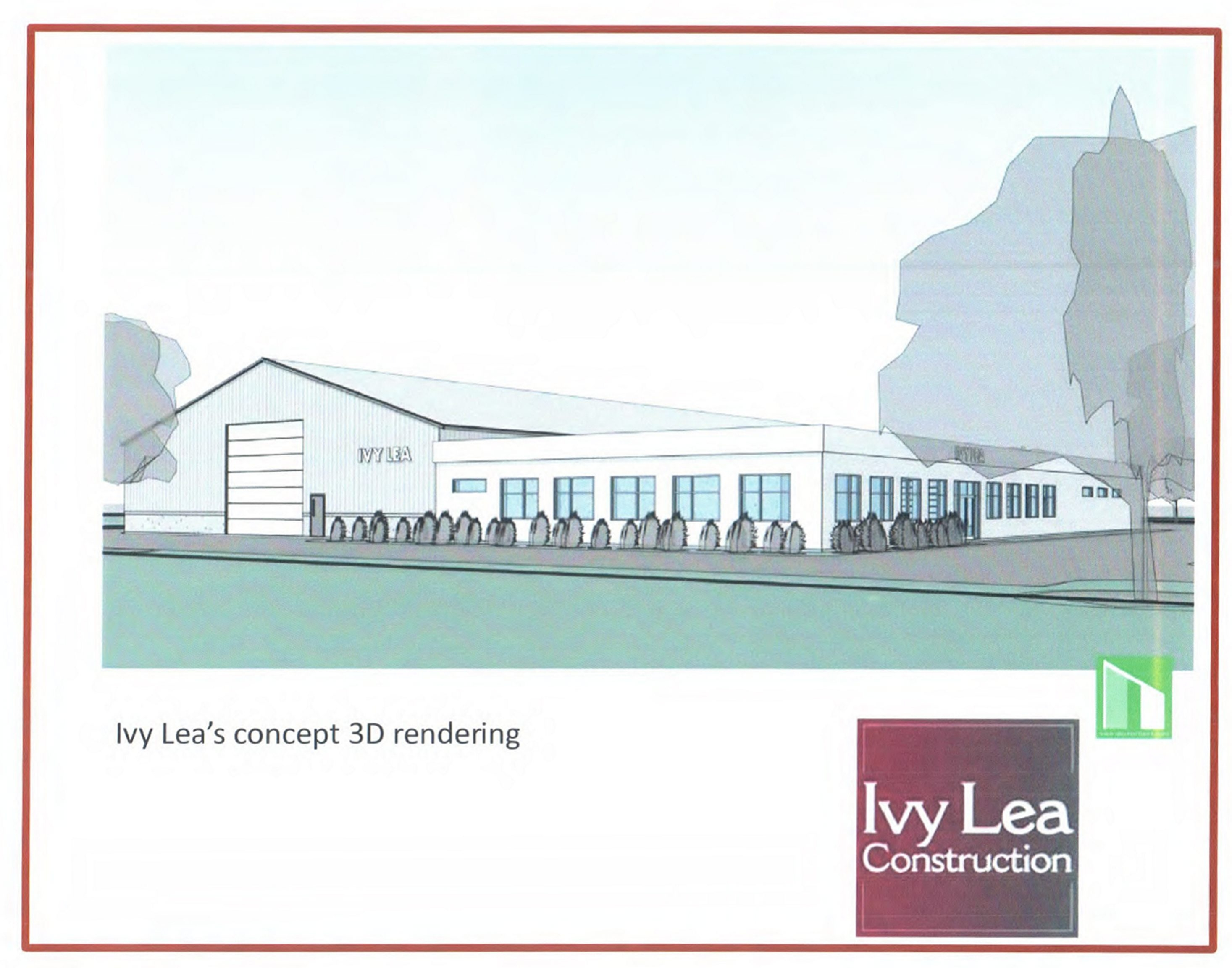 This architectural rendering shows the new Ivy Lea Construction headquarters and warehouse building planned for North Tonawanda.