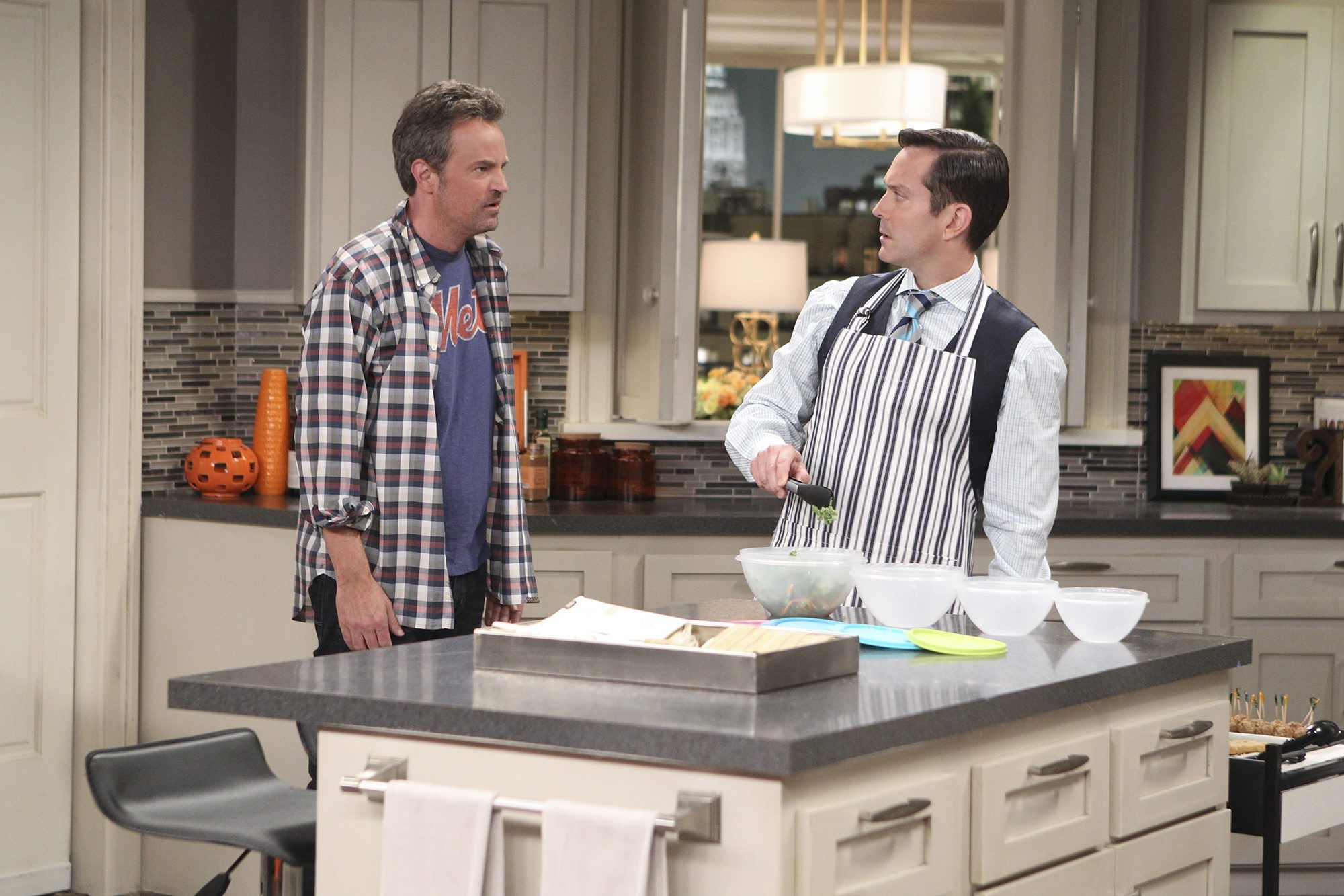 "Like all roommates, Matthew Perry as Oscar Madison, left, and Thomas Lennon as Felix Unger need to make some adjustments for sharing living quarters on CBS' ""The Odd Couple."""