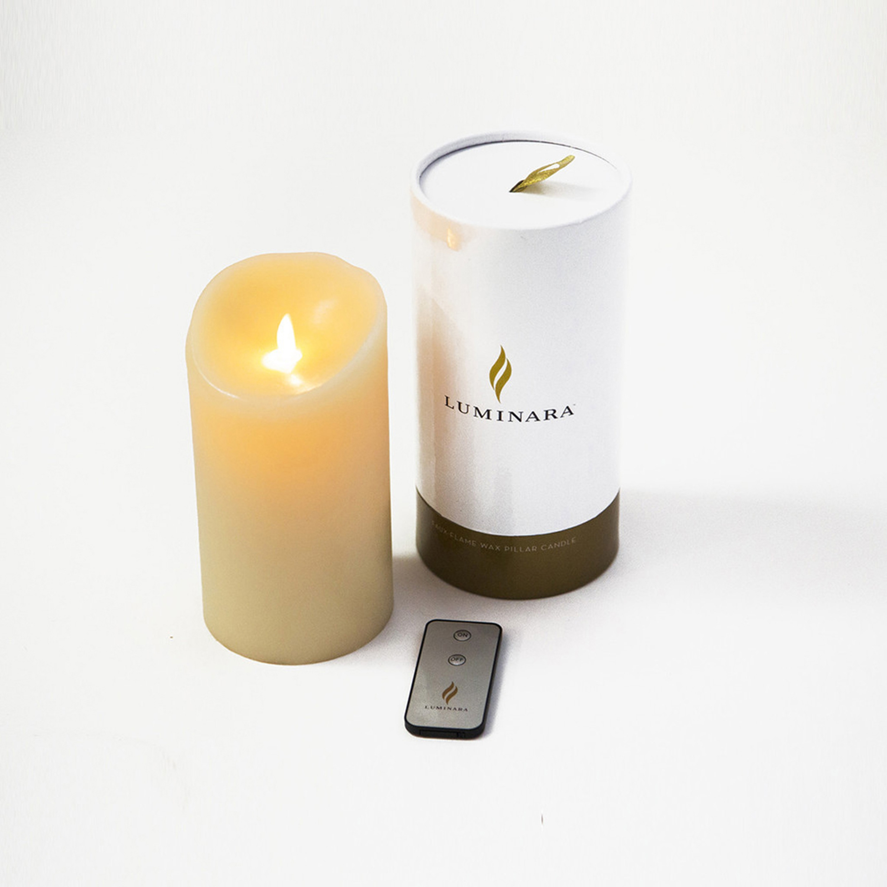 Flameless Luminara candles come with a handy remote control.