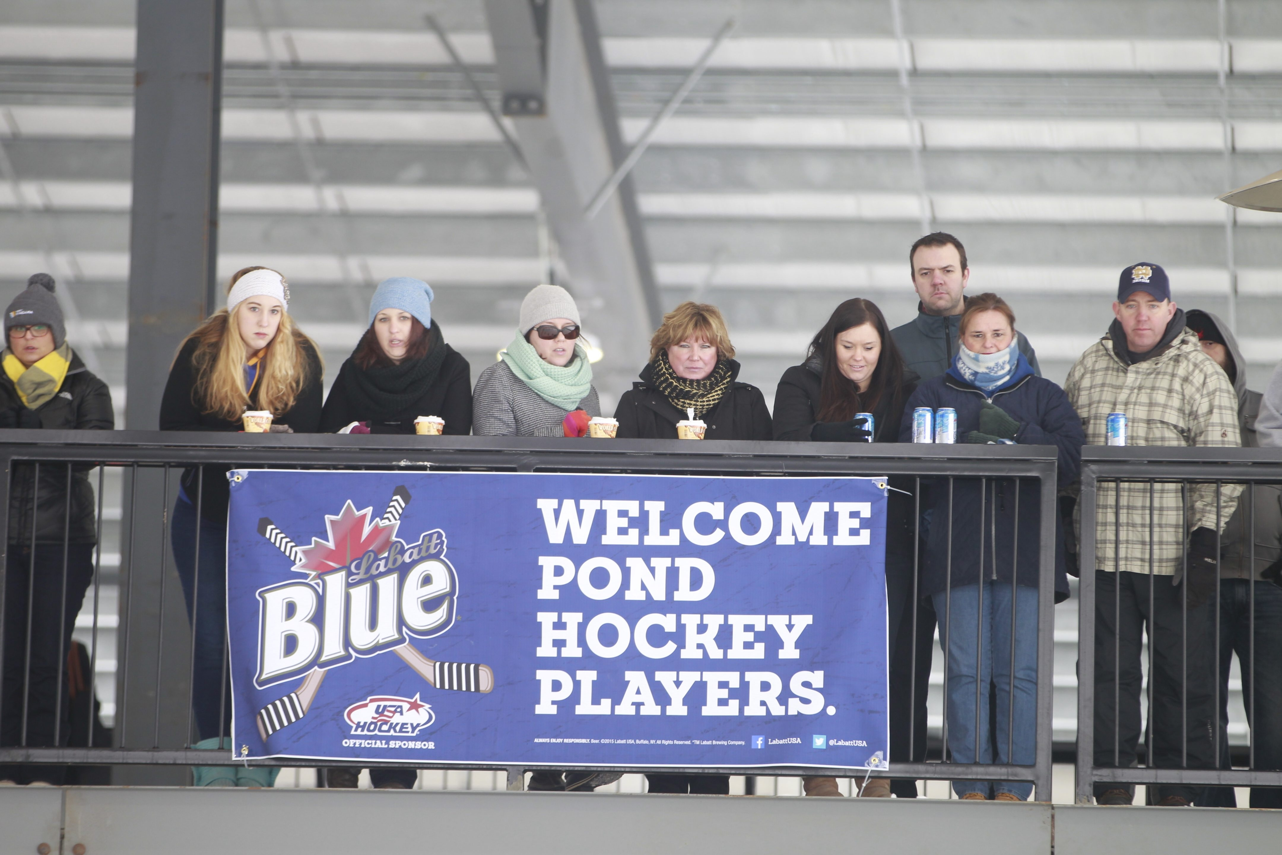 Fans in the upper deck watch the action Saturday at Labatt Blue Pond Hockey tournament at Buffalo RiverWorks. The three-day tourney that started with 144 teams in 12 divisions wraps up Sunday.