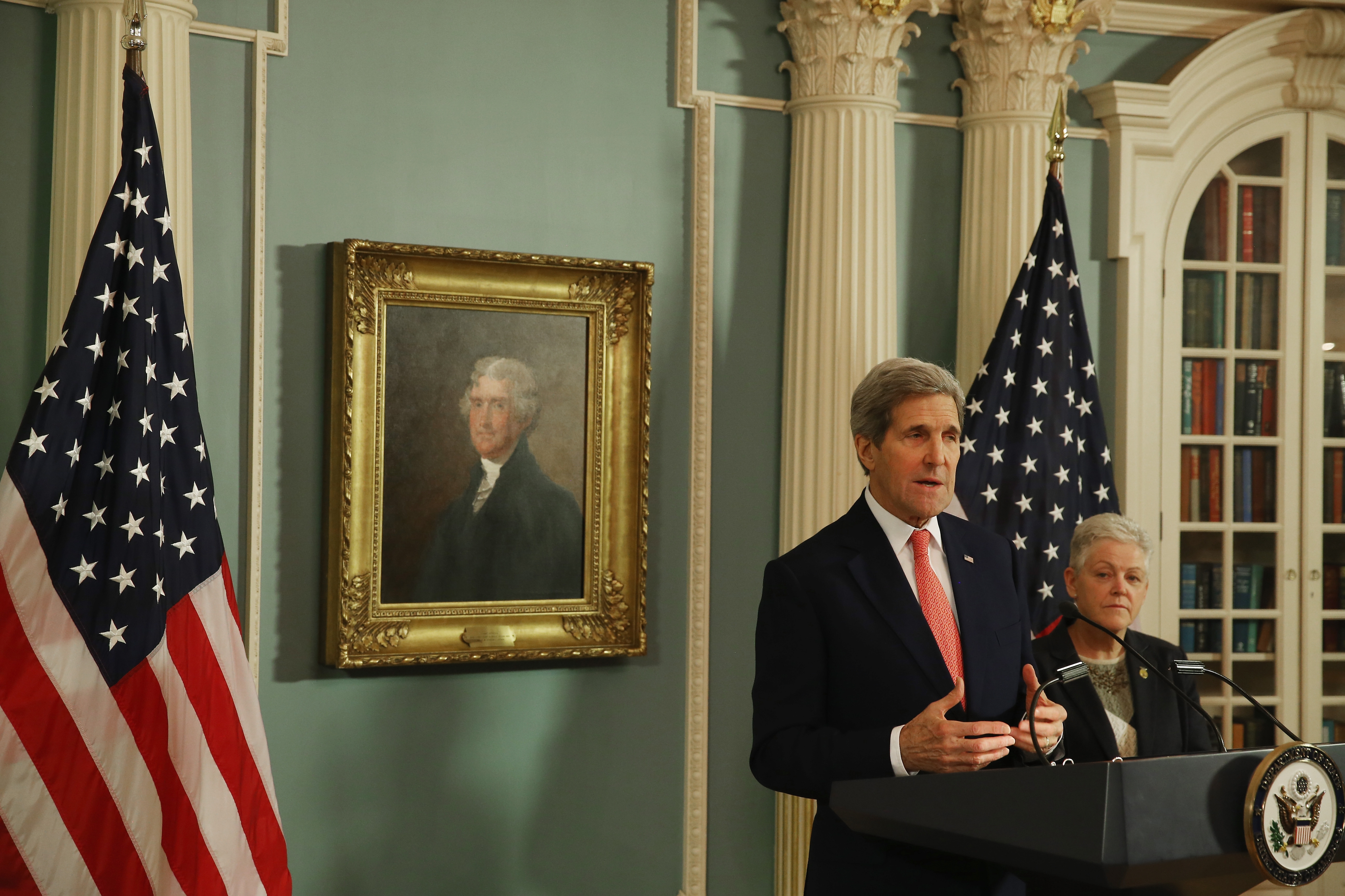 Secretary of State John Kerry speaks about the Agreement to Enhance Post Air Quality Monitoring and Action Overseas on Thursday.