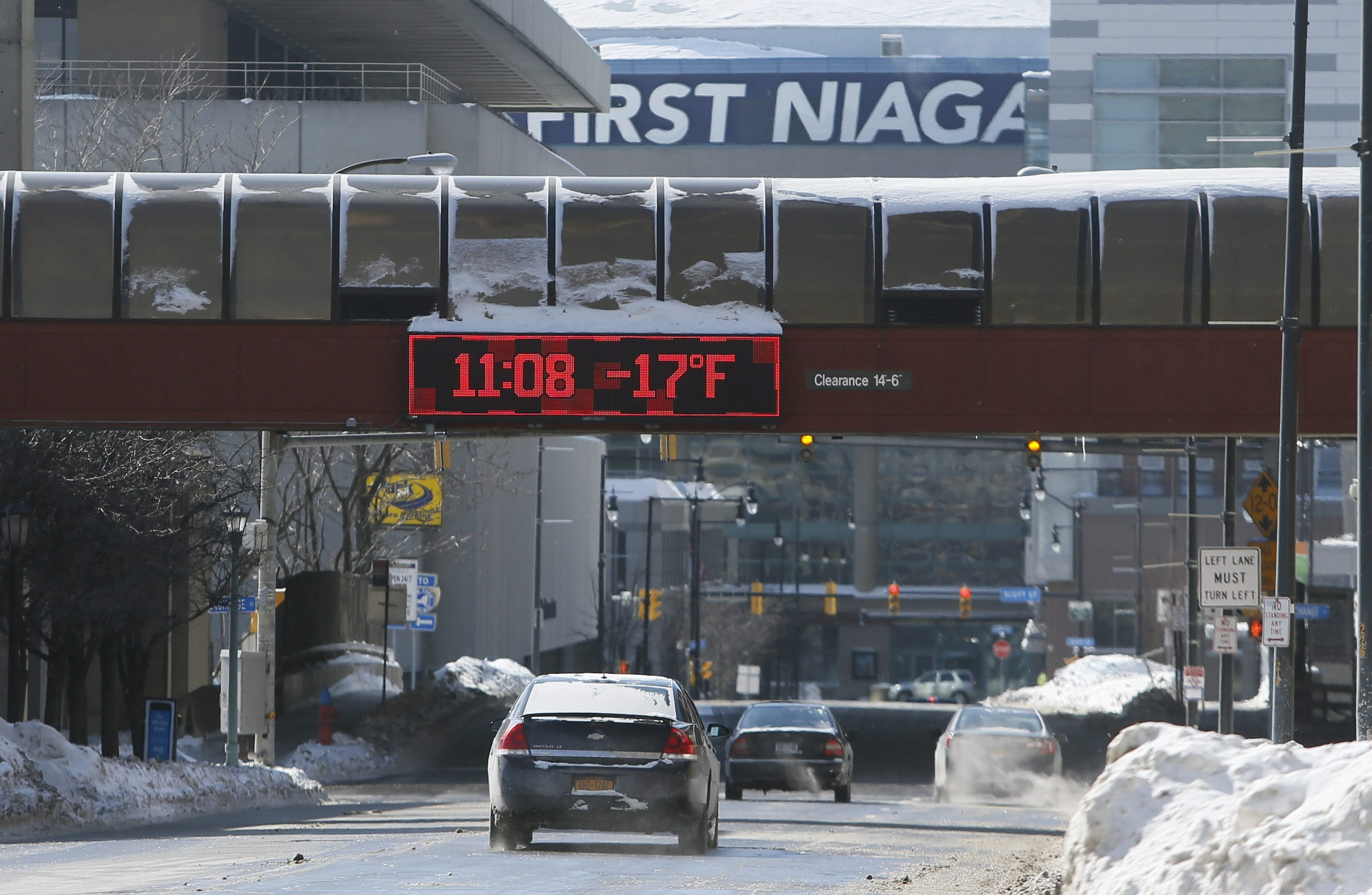 Message board on pedestrian walkway exaggerates how cold it really is in Buffalo.