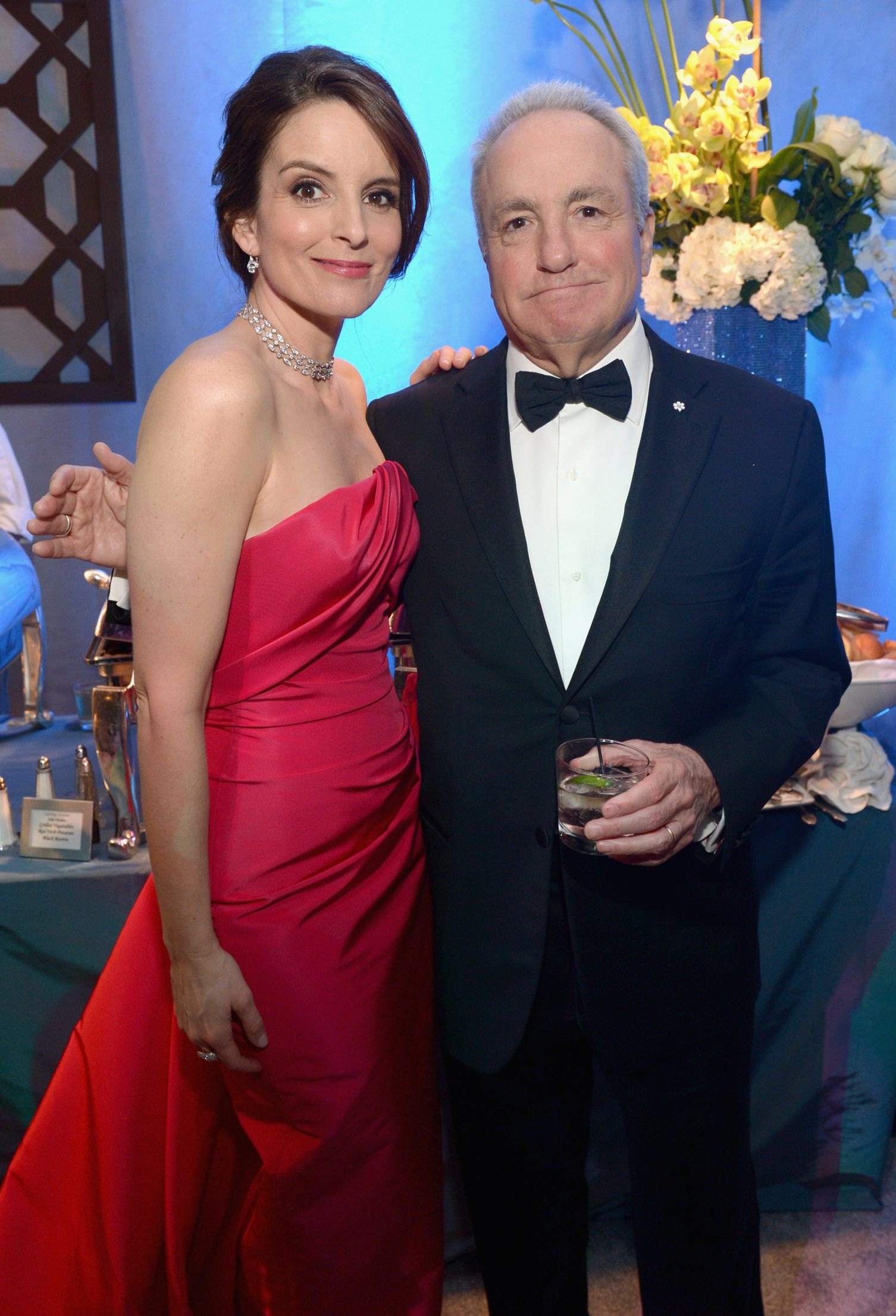 "Actress and former ""Saturday Night Live"" cast member Tina Fey and the show's producer Lorne Michaels in a 2014 file photo."