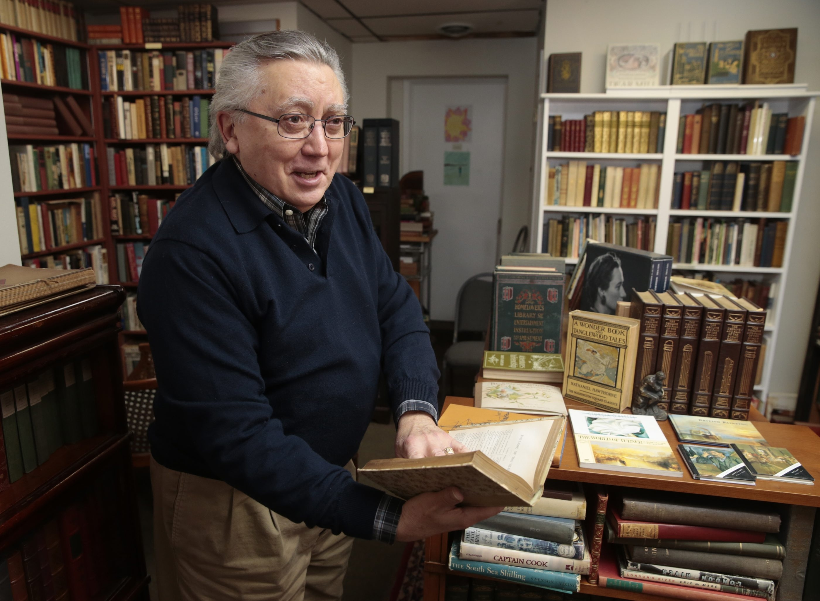 Robert M. Giannetti, a local poet and collector of books, is closing his store, Bob's Olde Books, next month after more than seven years in business on Center Street in Lewiston.