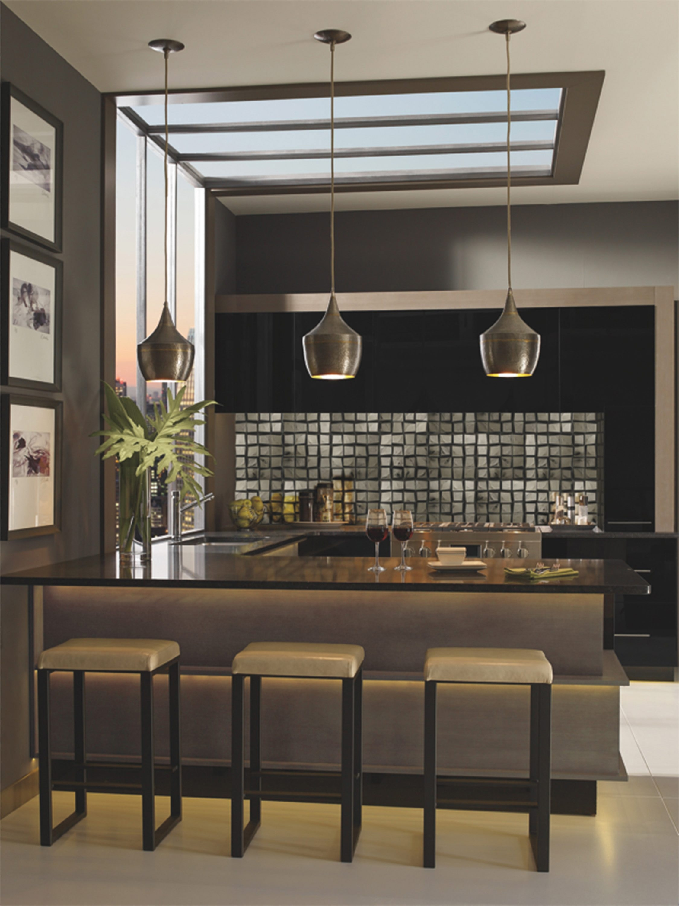 Kitchen design trends this year include lots of glass and metal.