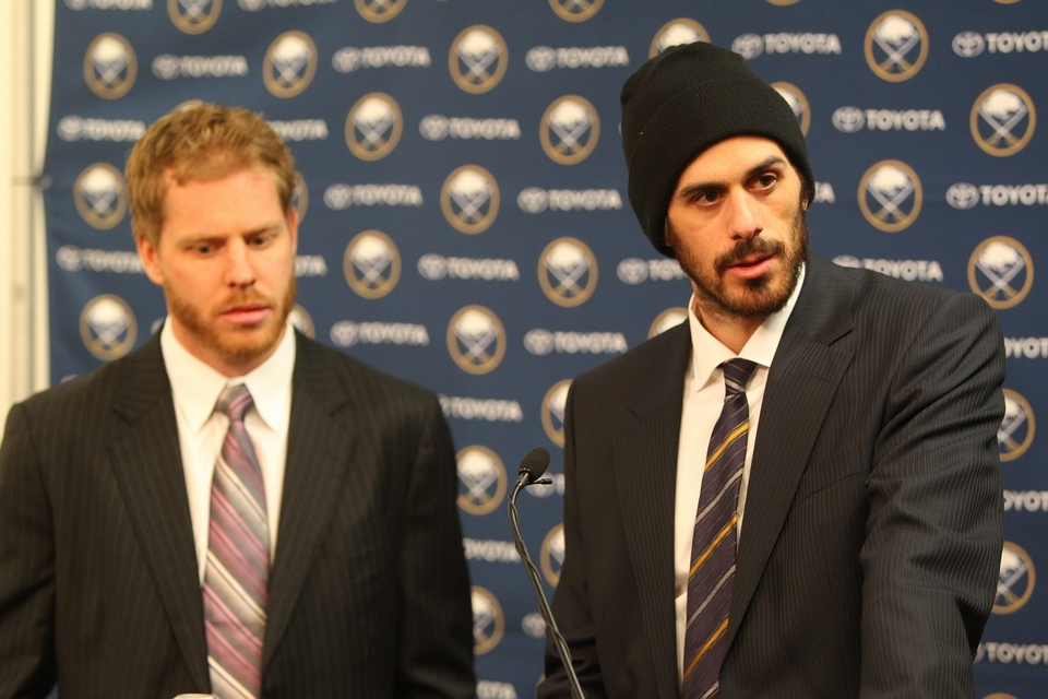 Steve Ott and Ryan Miller discuss their trade to St. Louis with reporters in First Niagara Center on Feb, 28, 2014 (Mark Mulville/Buffalo News file photo)