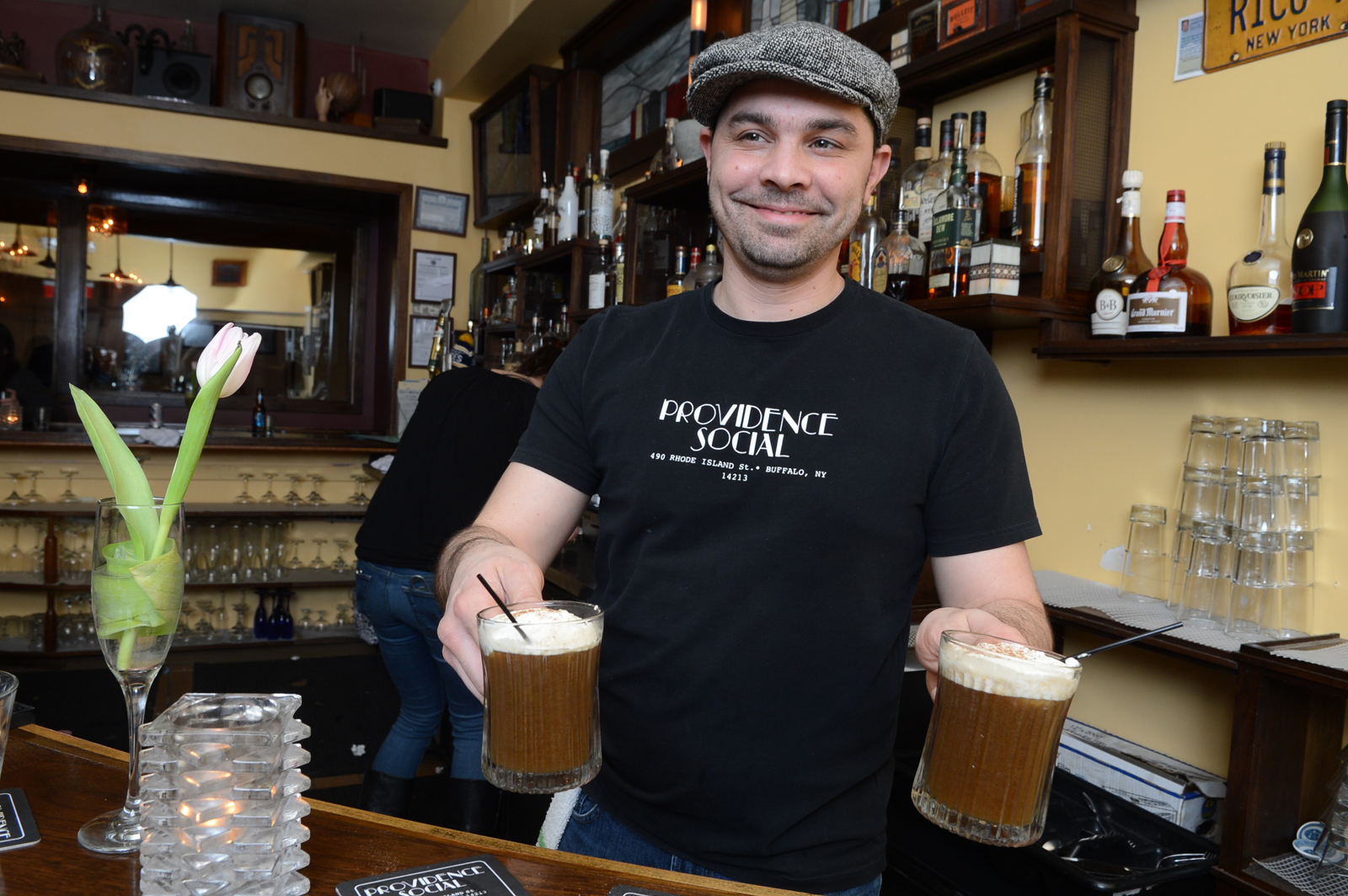 Providence Social bartender Frankie Zorechak holds two Socialites. (Nancy J. Parisi/Special to the News)