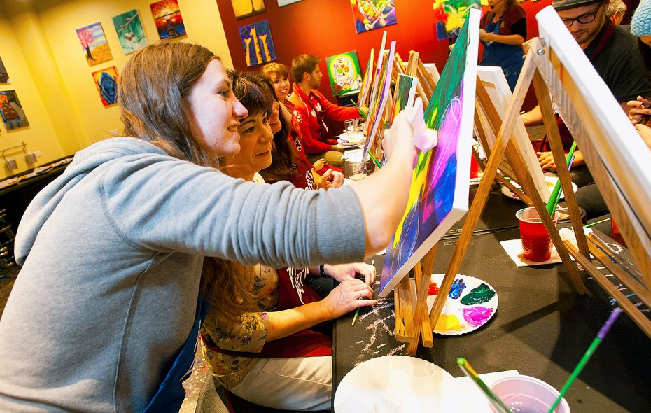 """Girls night out as an art form: """"Paint and sip"""" classes are the latest way to hang out"""