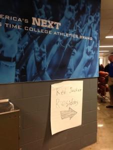 A sign directing University at Buffalo students to a shelter at Alumni Arena. (T.J. Pignataro/Buffalo News)